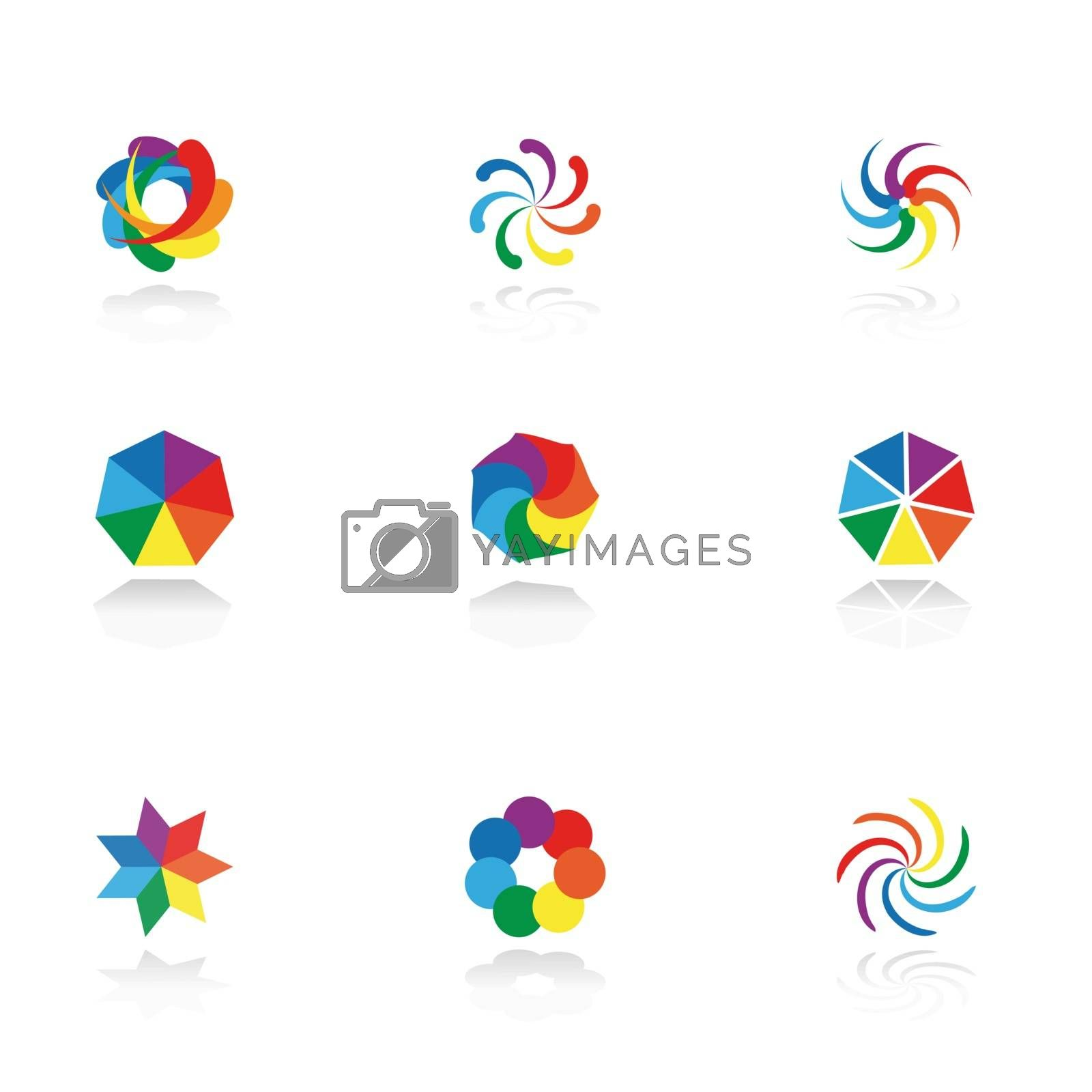 Collection of 9 design elements and graphics. Vector. CMYK.