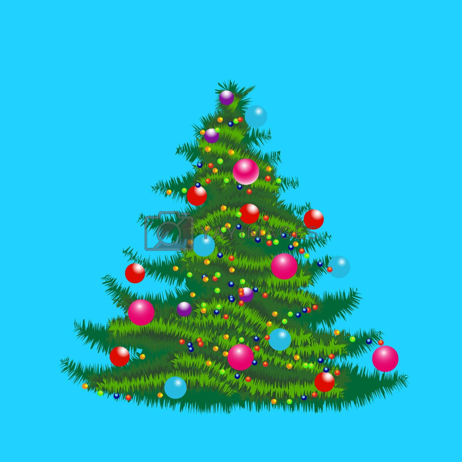 Vector illustration of christmas tree with ornaments