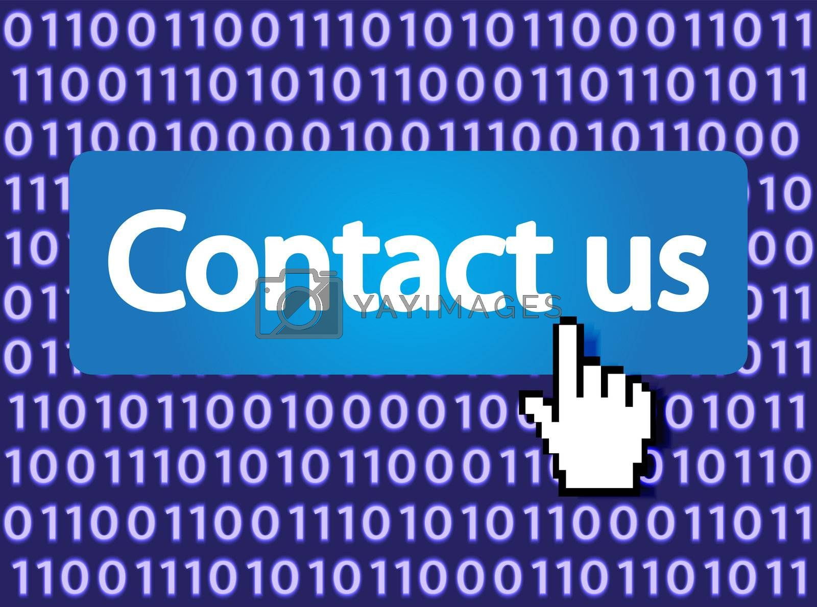 Contact us Button with Hand Cursor. Vector Illustration.