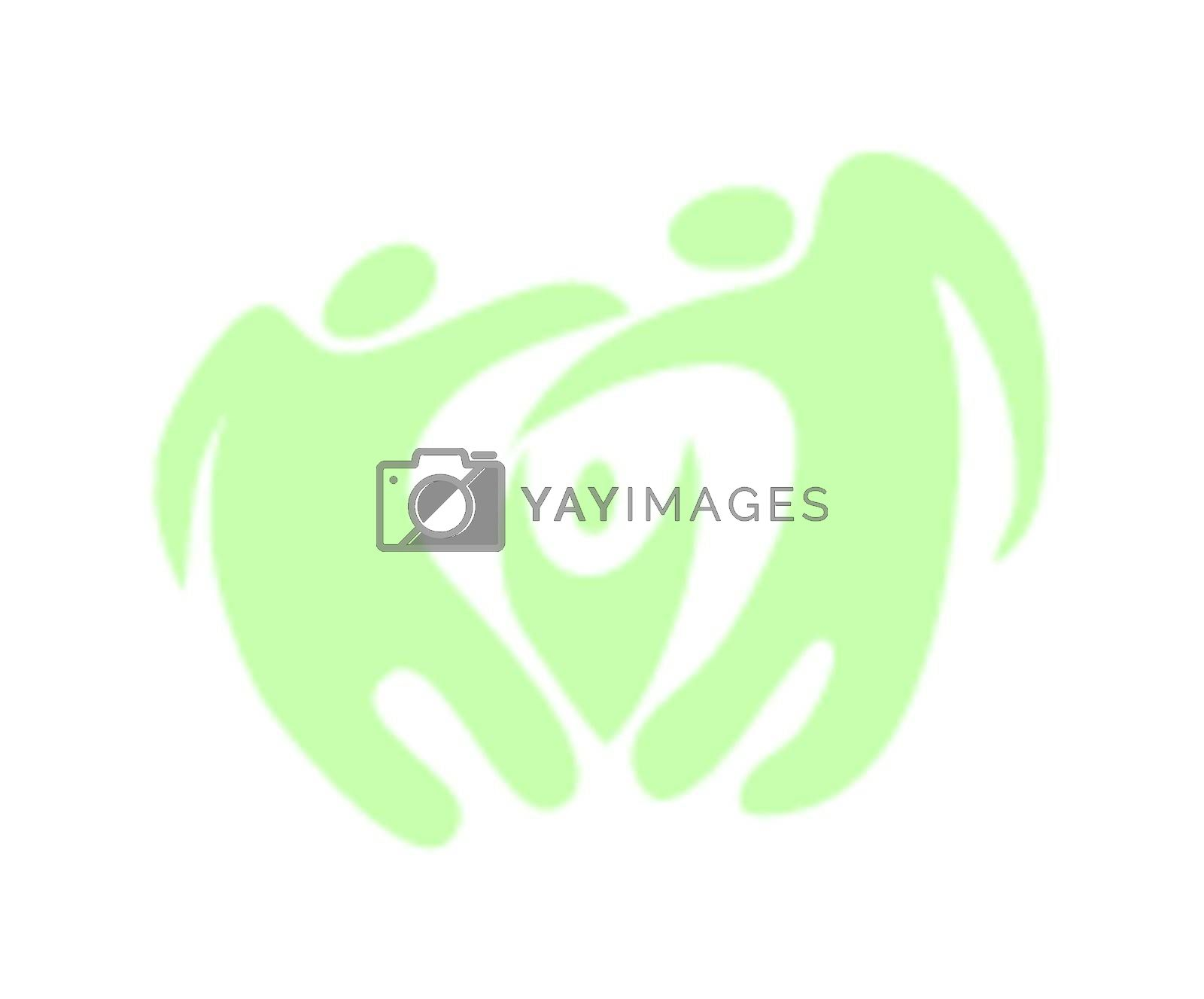 Elegant green abstract family icon. Vector illustration