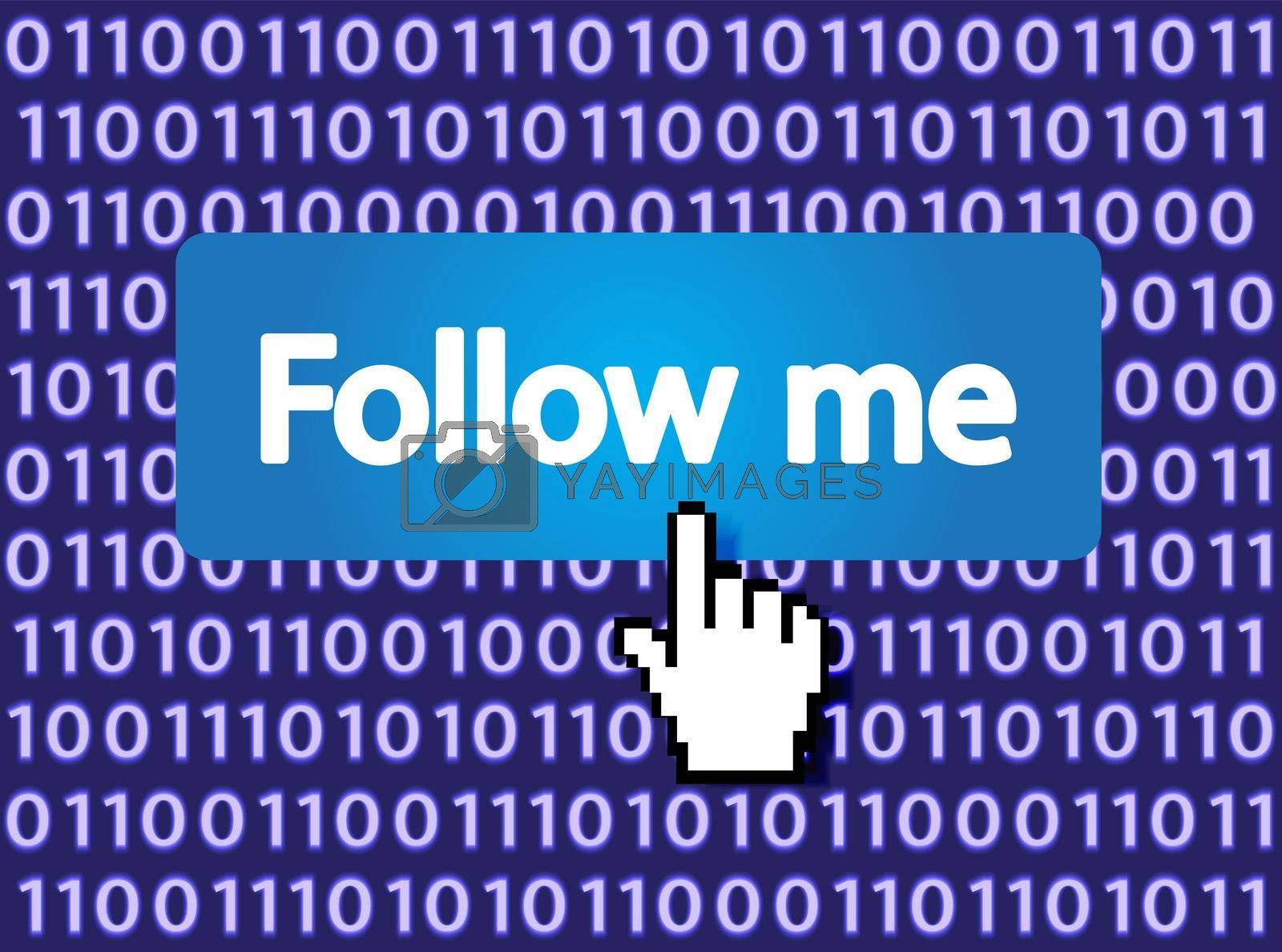 Follow Me Button with Hand Cursor. Vector Illustration.