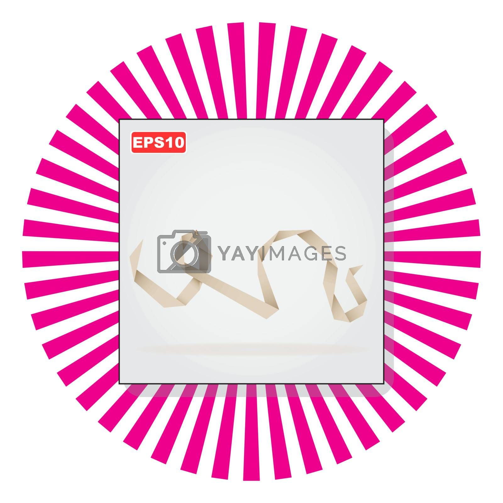 Paper origami ribbon (neutral color). VectorVector illustration EPS10