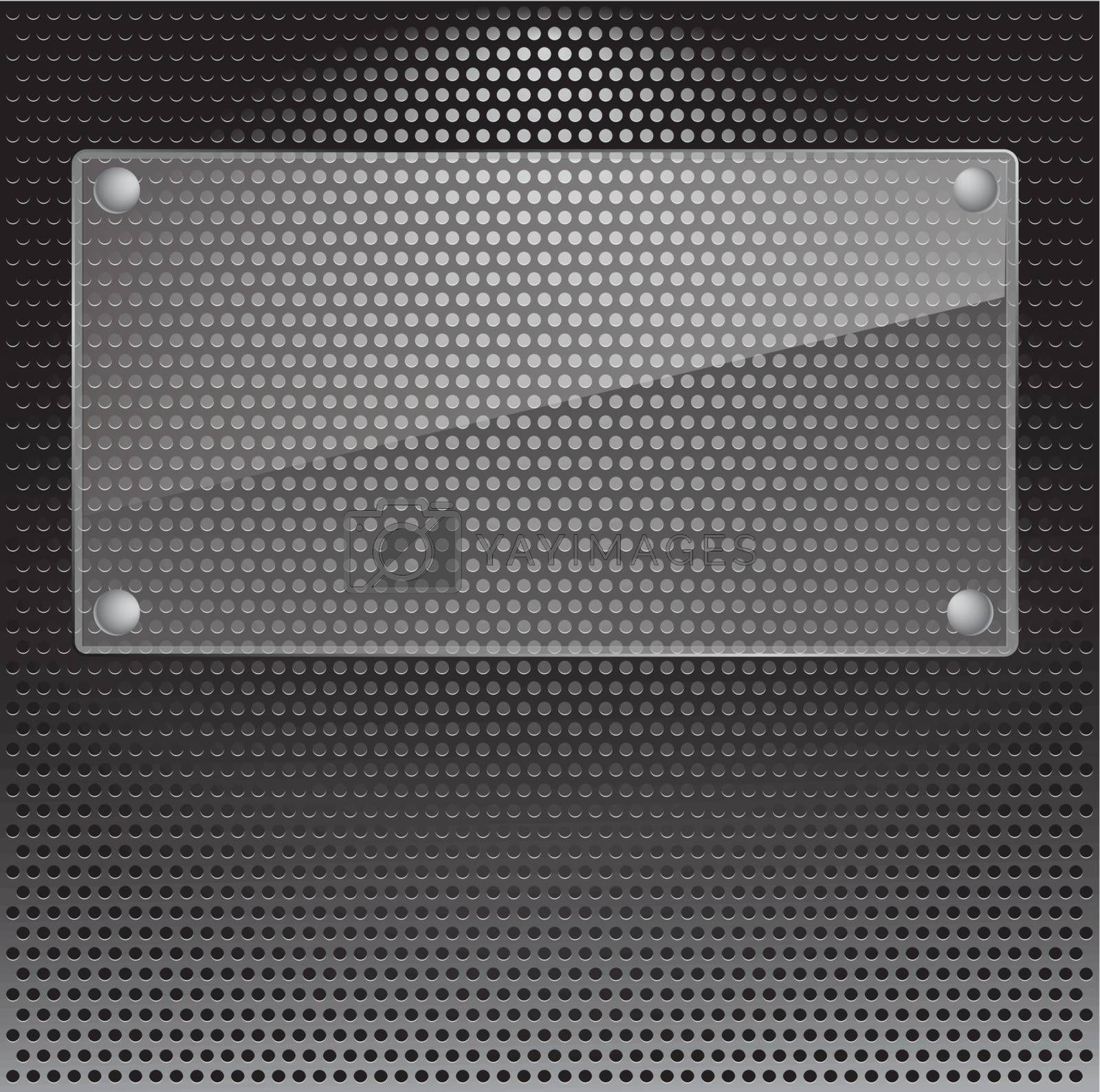 Realistic vector speaker grill background with glass