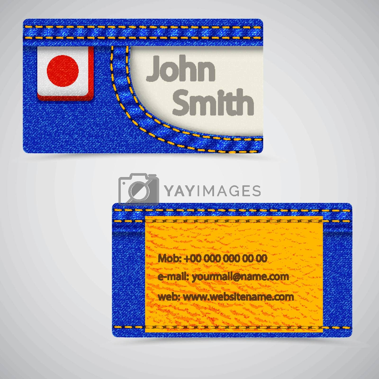 Vector abstract Jeans business cards. Vector Illustration.