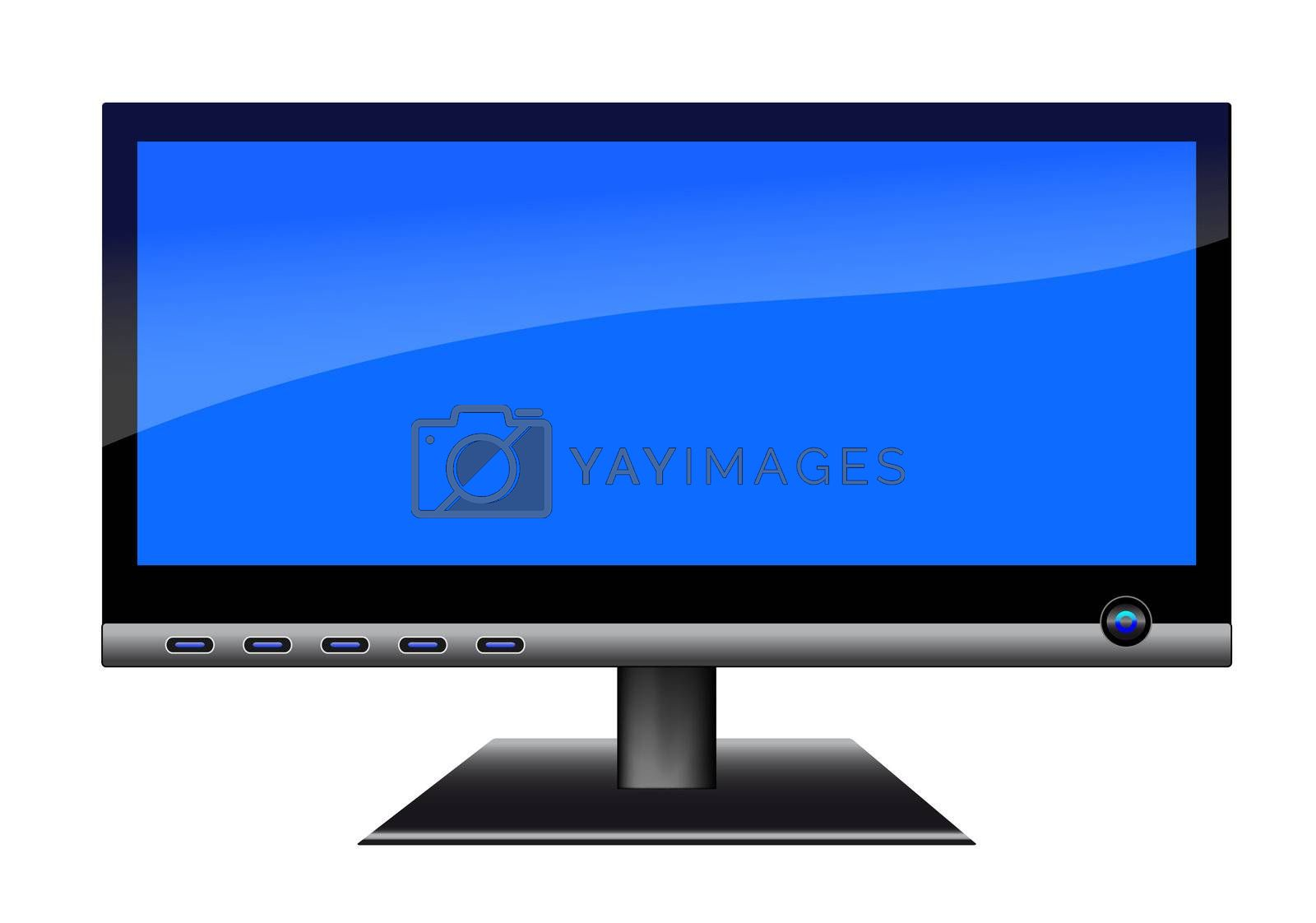 A 3d LCD Monitor. Clean blue display.