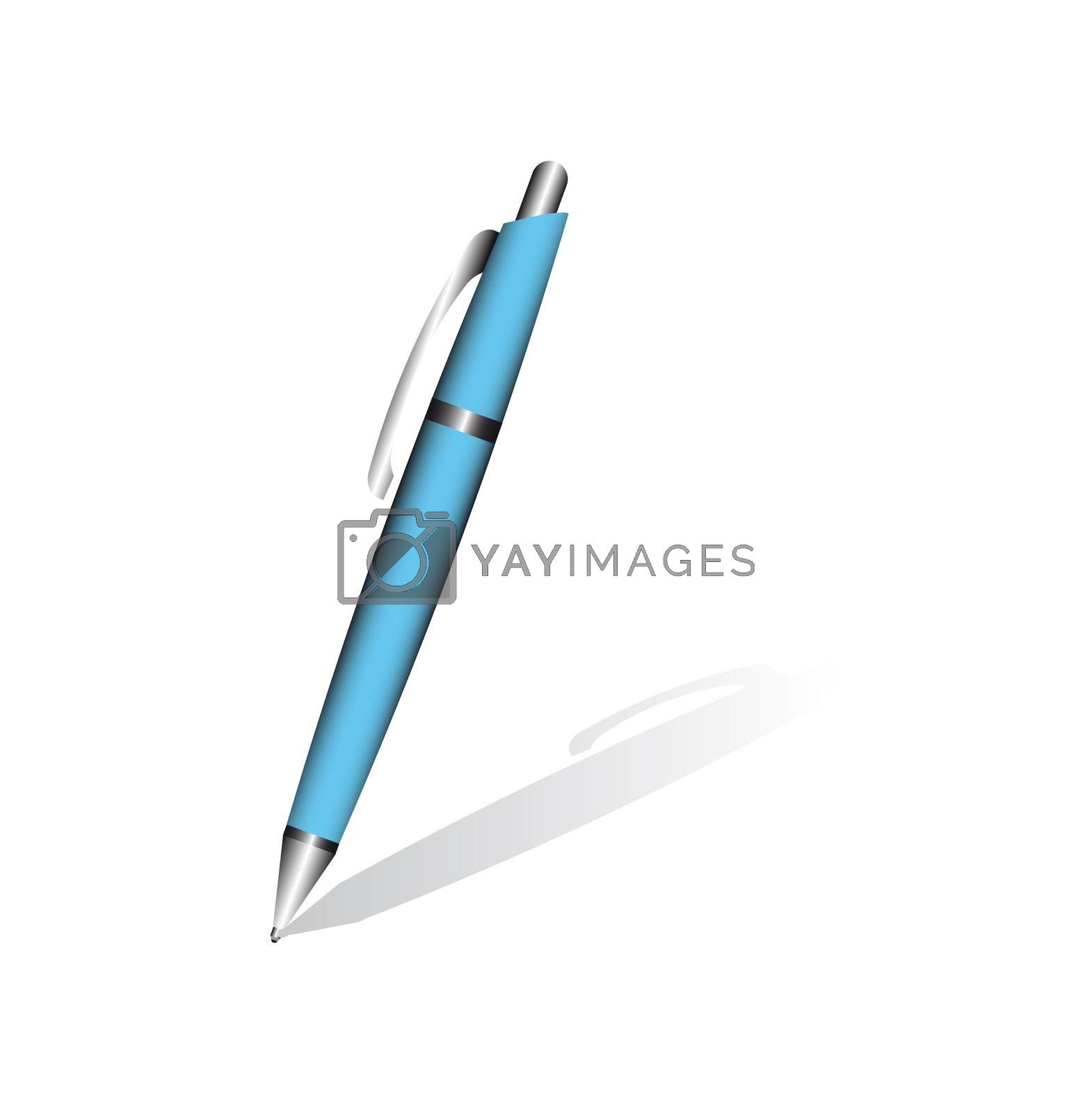 Blue pen isolated on the white background. Vector
