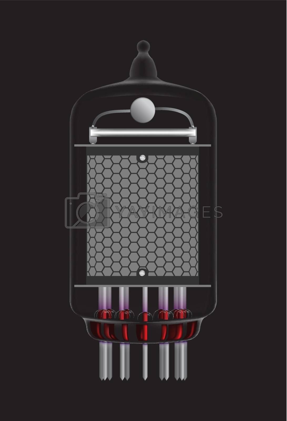 Nixie tube indicator. Transparency guaranteed. Vector illustration.