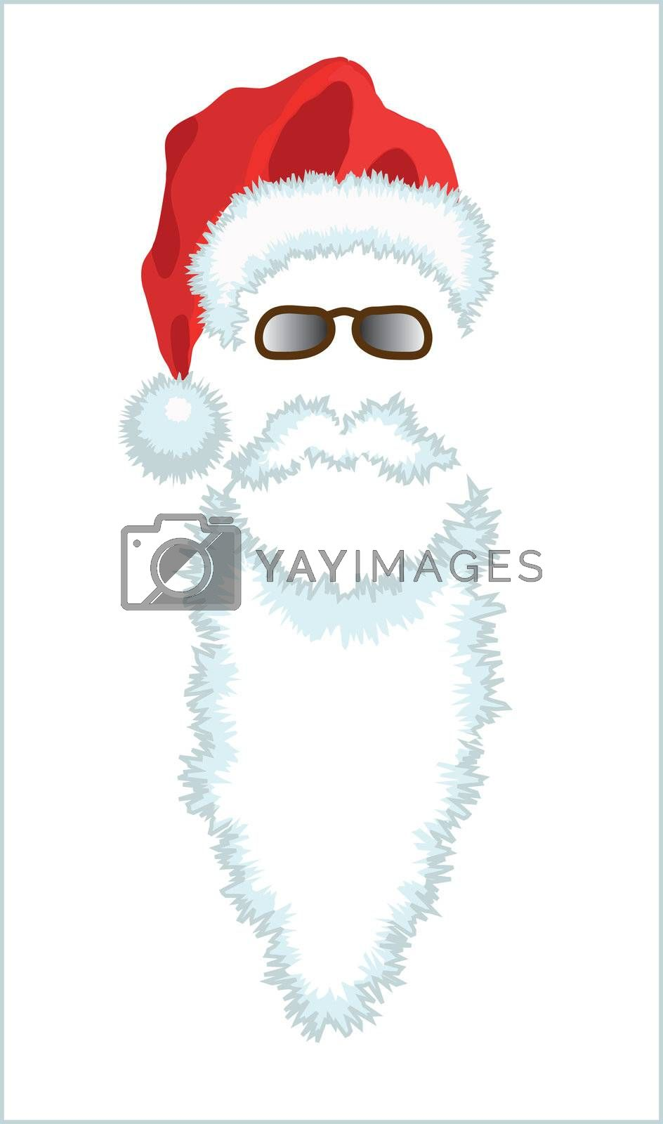 Red Santa Claus Hat, beard and glasses. Vector illustration isolated on green background.