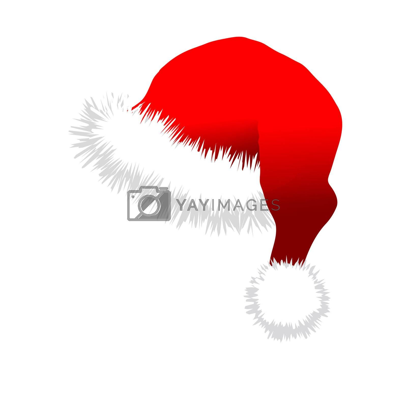 Red Santa Claus Hat. Vector illustration isolated on white background.