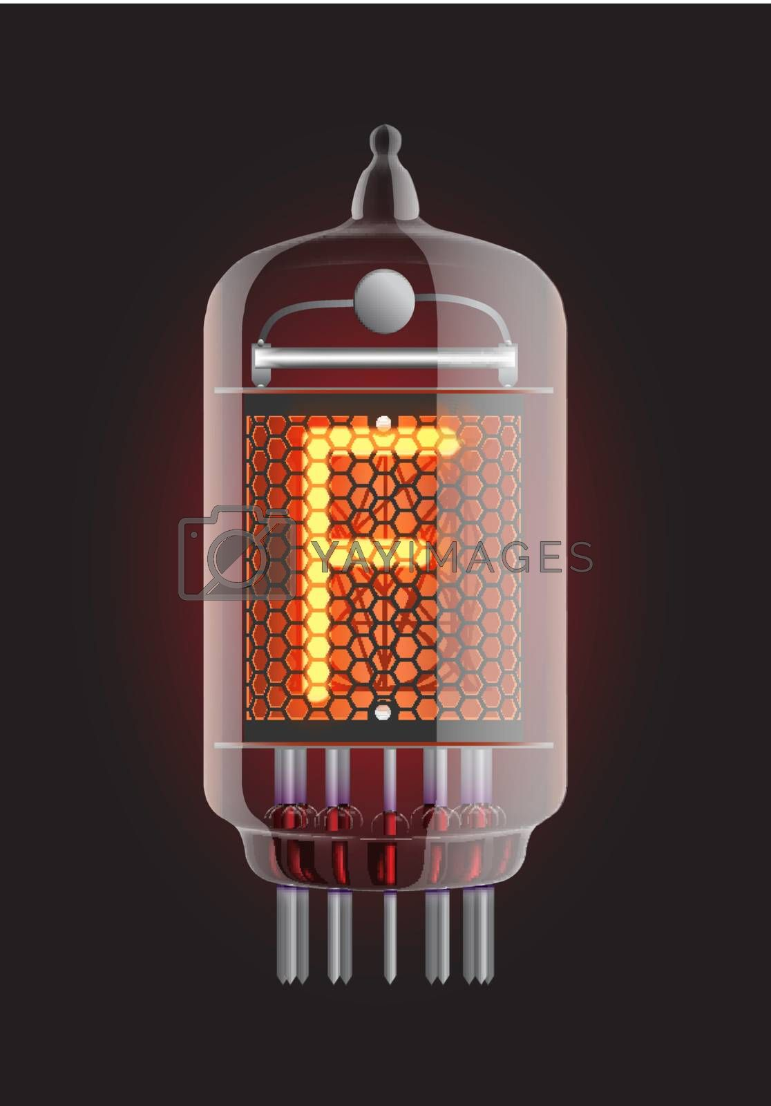 """Nixie tube indicator. Letter """"F"""" from retro, Transparency guaranteed. Vector illustration."""