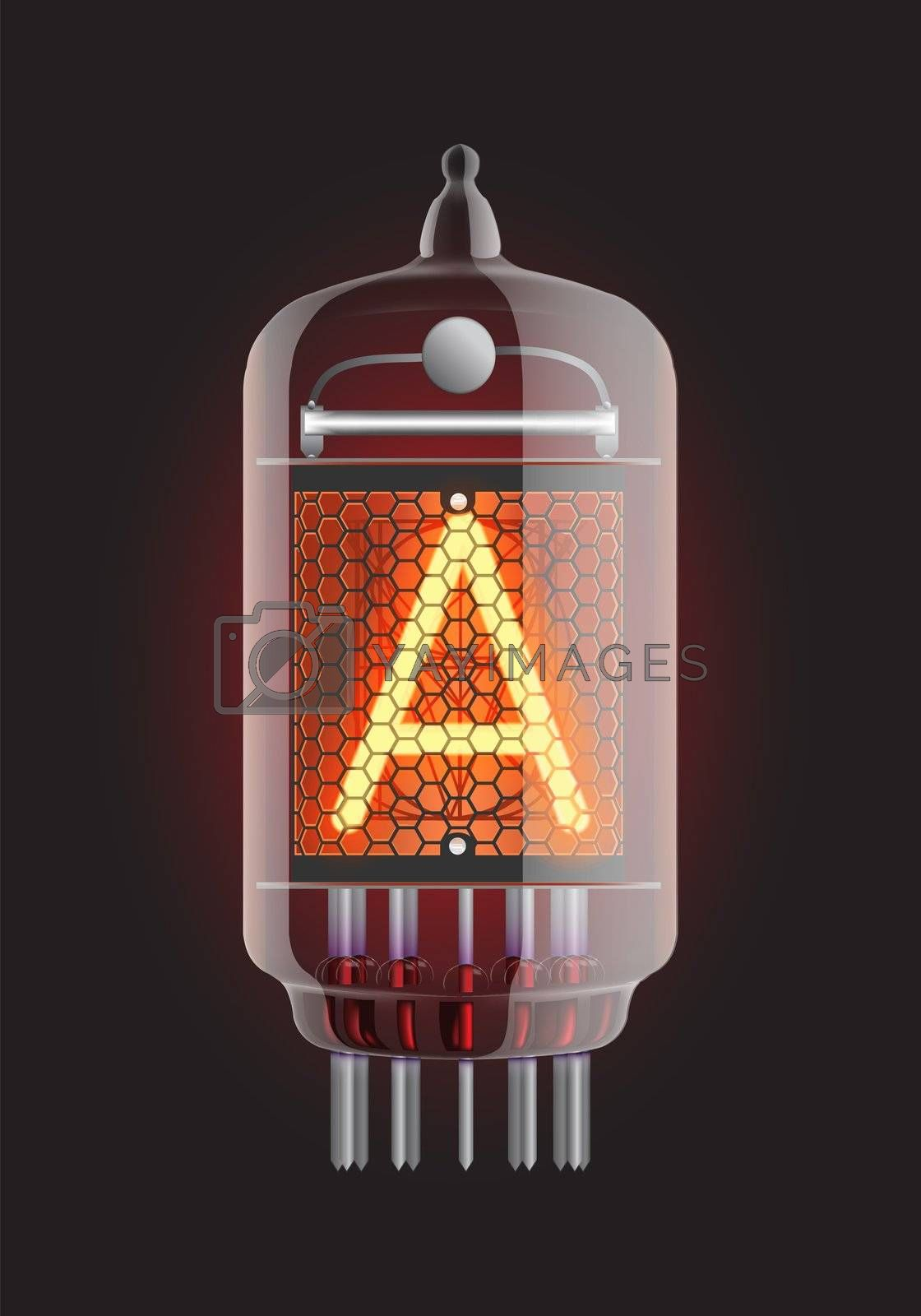 """Nixie tube indicator. Letter """"A"""" from retro, Transparency guaranteed."""