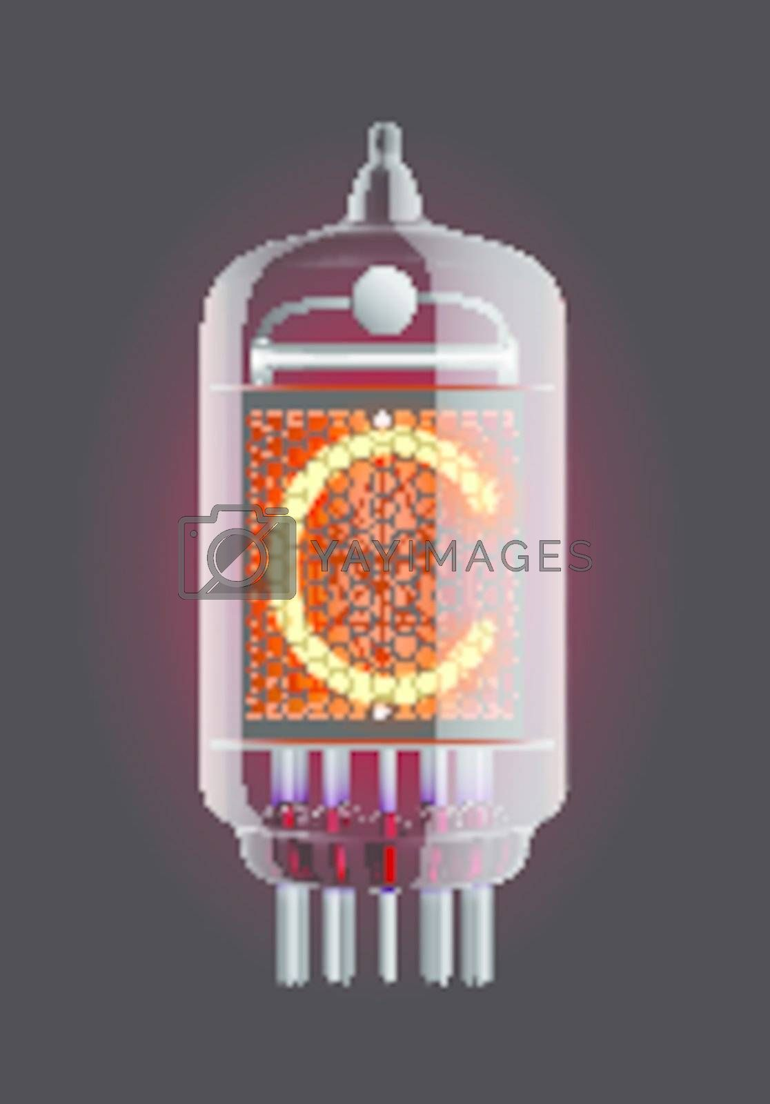"""Nixie tube indicator. Letter """"C"""" from retro, Transparency guaranteed. Vector illustration."""