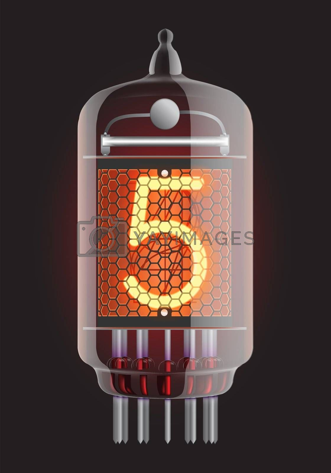 Nixie tube indicator. The number five of retro, Transparency guaranteed. Vector illustration.