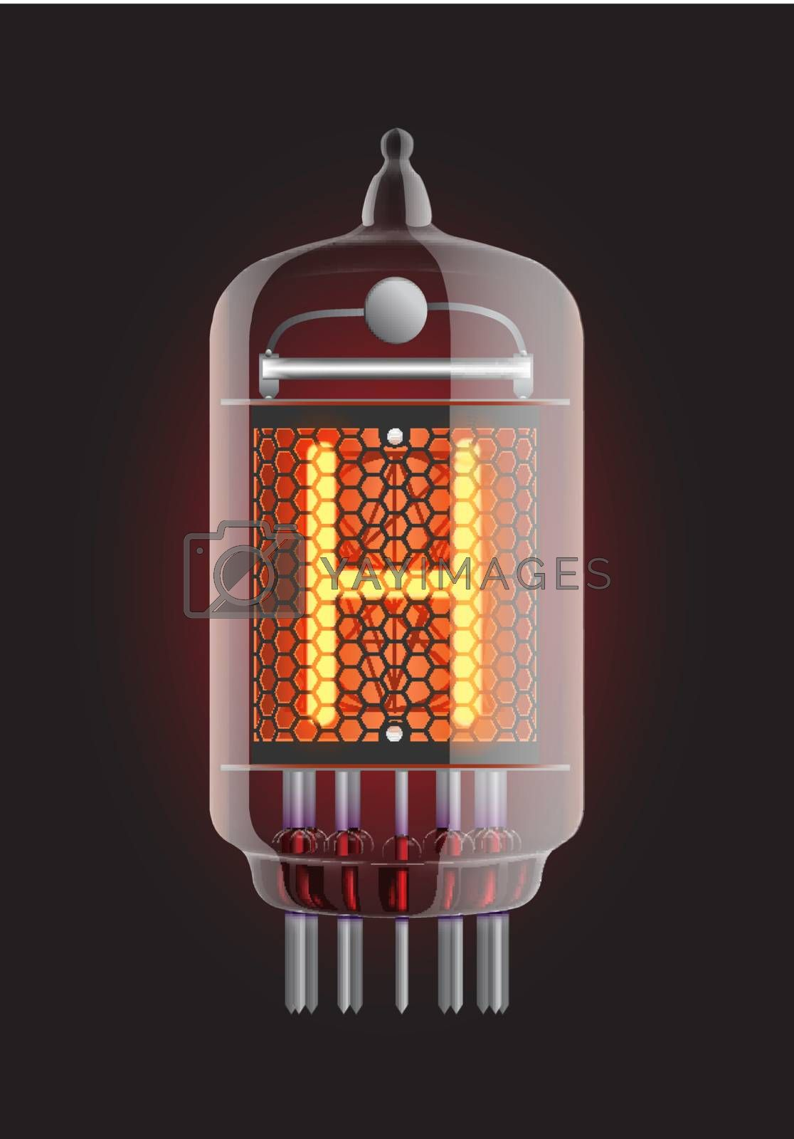 """Nixie tube indicator. Letter """"H"""" from retro, Transparency guaranteed. Vector illustration."""
