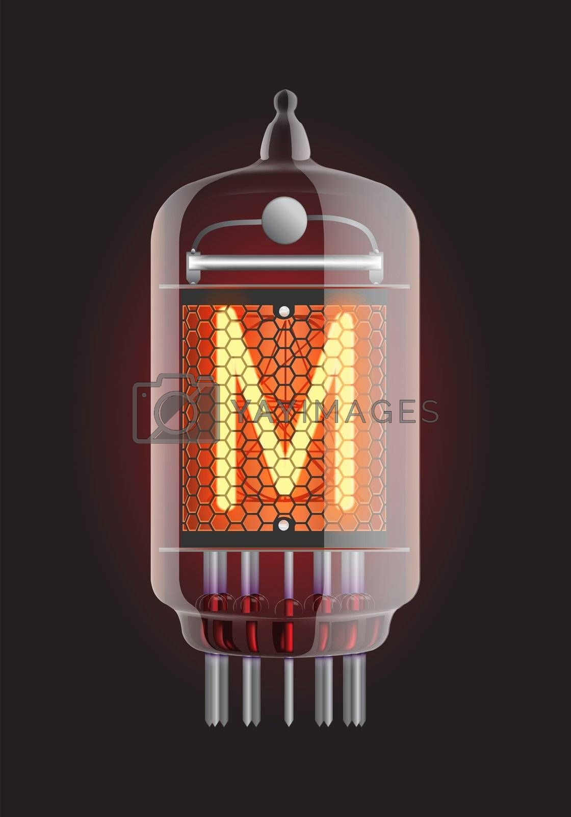 """Nixie tube indicator. Letter """"M"""" from retro, Transparency guaranteed. Vector illustration."""