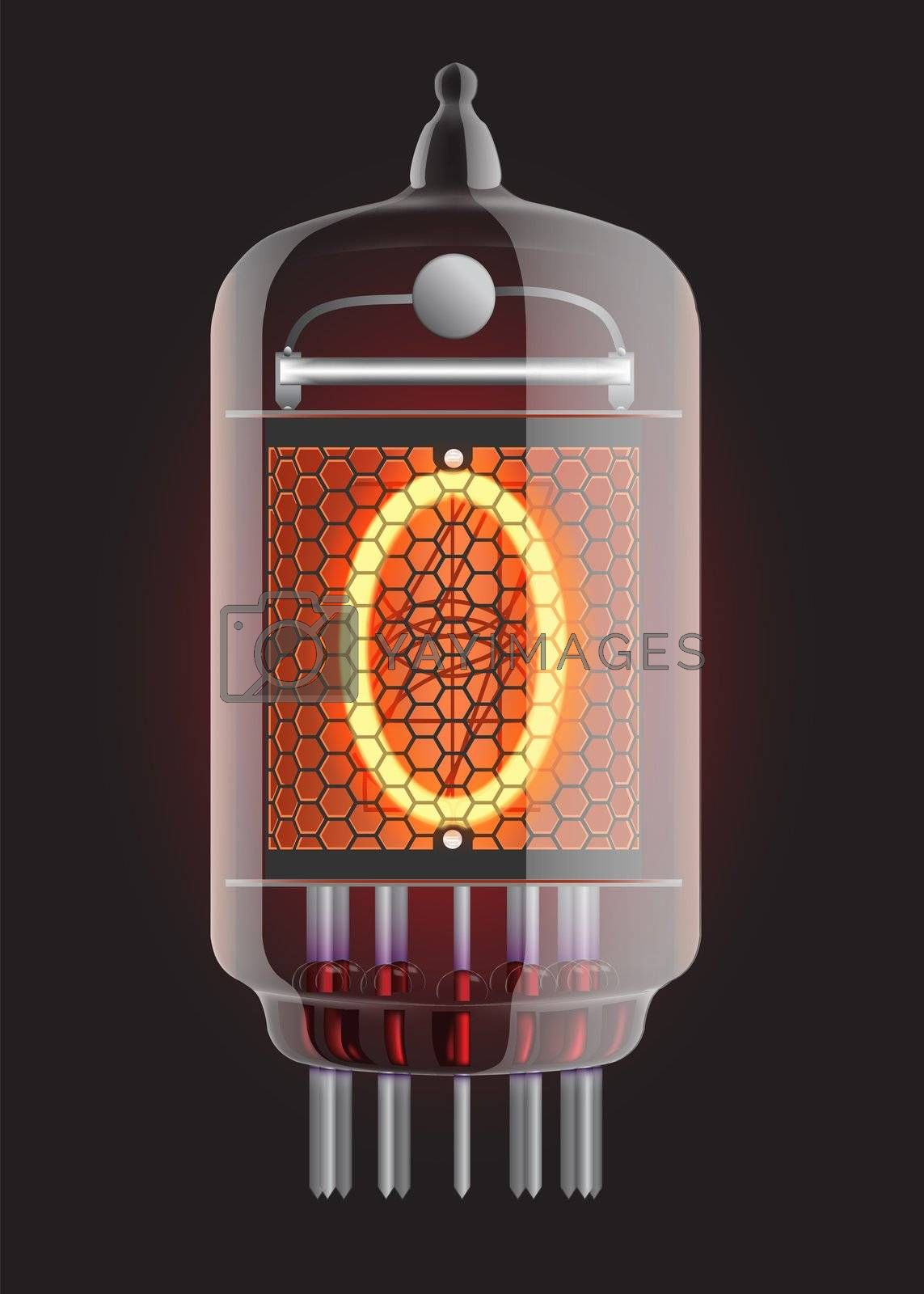 Nixie tube indicator. The number zero of retro, Transparency guaranteed. Vector illustration.