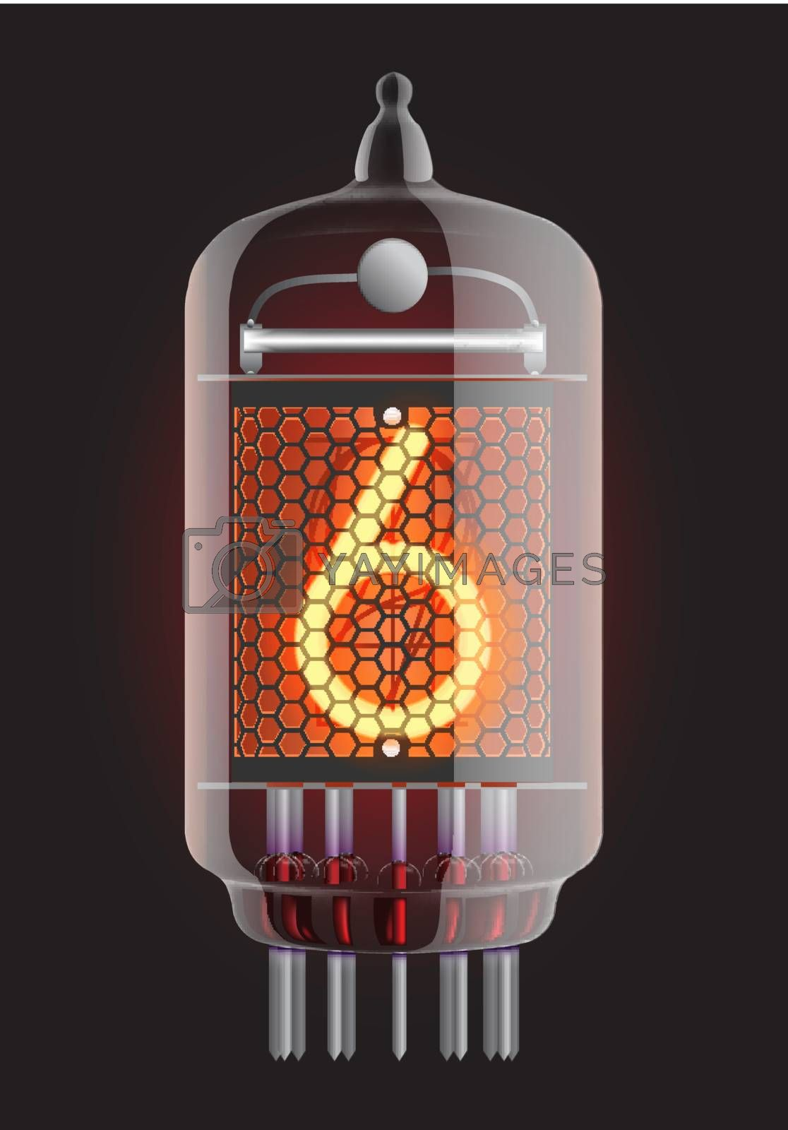 Nixie tube indicator. The number six of retro, Transparency guaranteed. Vector illustration.