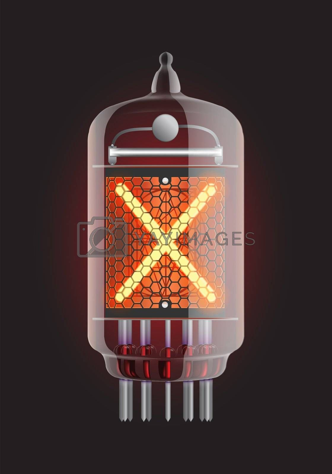 """Nixie tube indicator. Letter """"X"""" from retro, Transparency guaranteed. Vector illustration."""