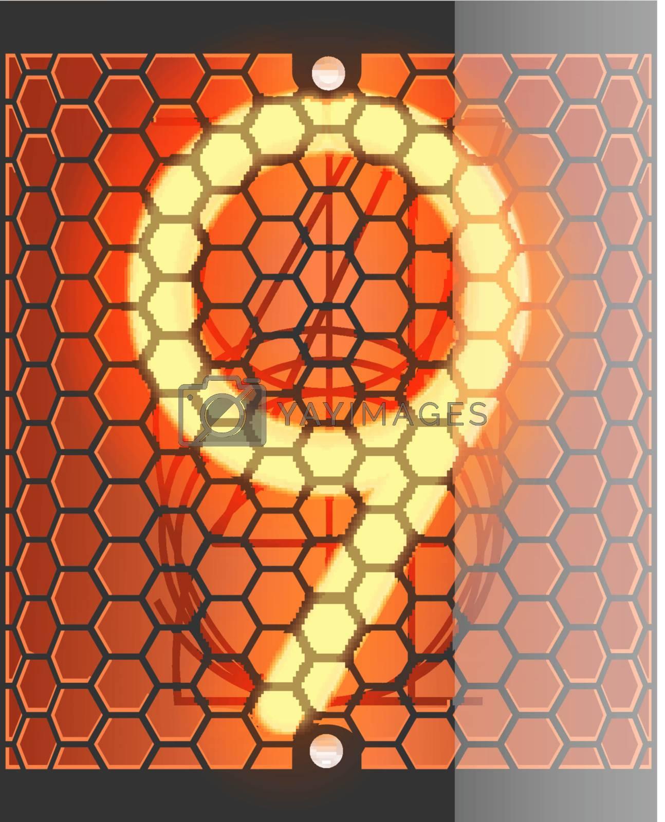 Nixie tube indicator. The number nine of retro, Transparency guaranteed. Vector illustration.