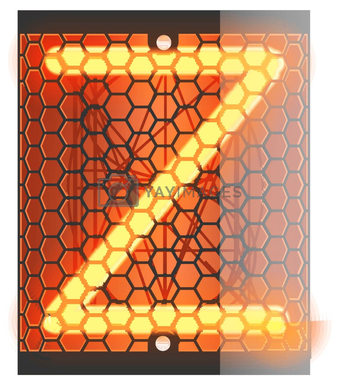"""Nixie tube indicator. Letter """"Z"""" from retro, Transparency guaranteed. Vector illustration."""