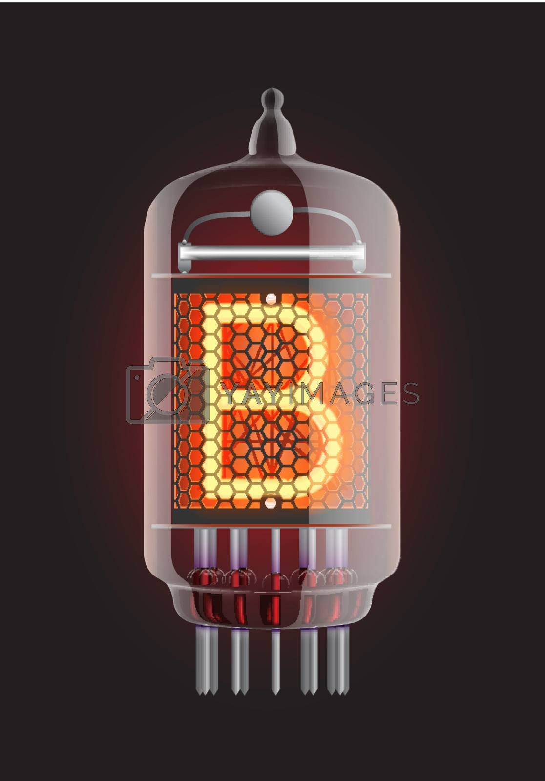 """Nixie tube indicator. Letter """"B"""" from retro, Transparency guaranteed. Vector illustration."""