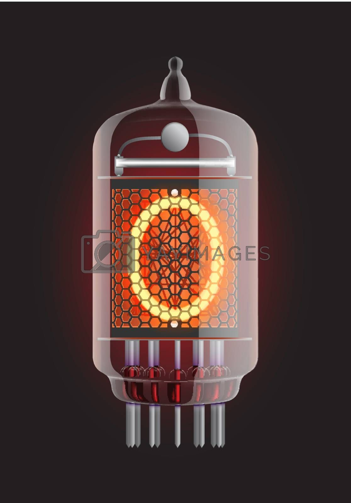 """Nixie tube indicator. Letter """"O"""" from retro, Transparency guaranteed. Vector illustration."""