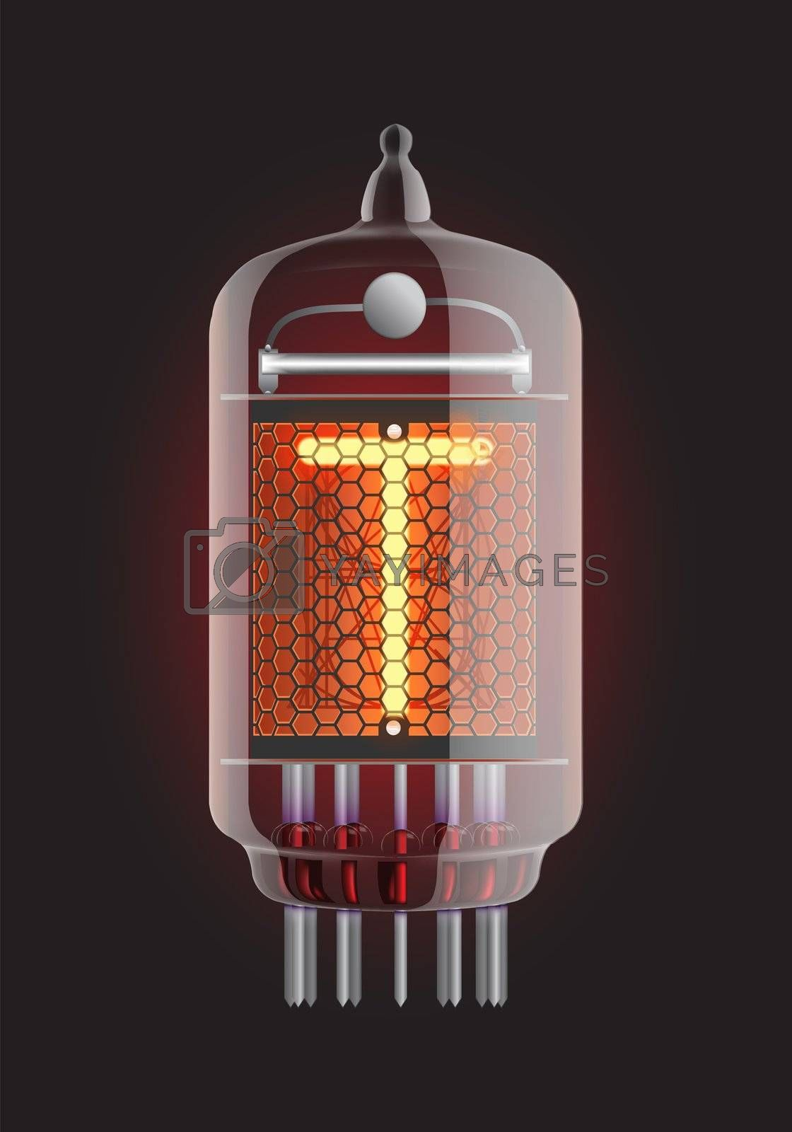 """Nixie tube indicator. Letter """"T"""" from retro, Transparency guaranteed. Vector illustration."""