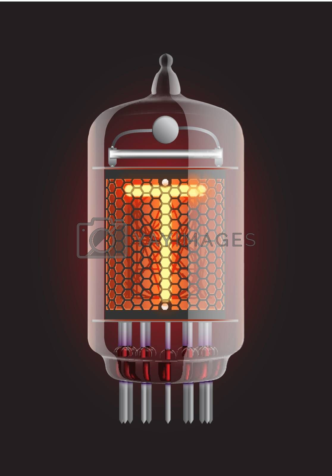 "Nixie tube indicator. Letter ""T"" from retro, Transparency guaranteed. Vector illustration."