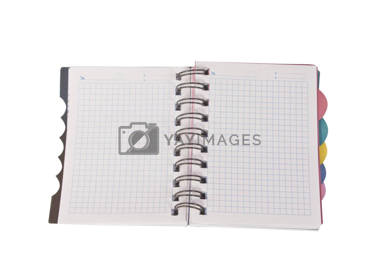 Open notebook. It is isolated on a white background