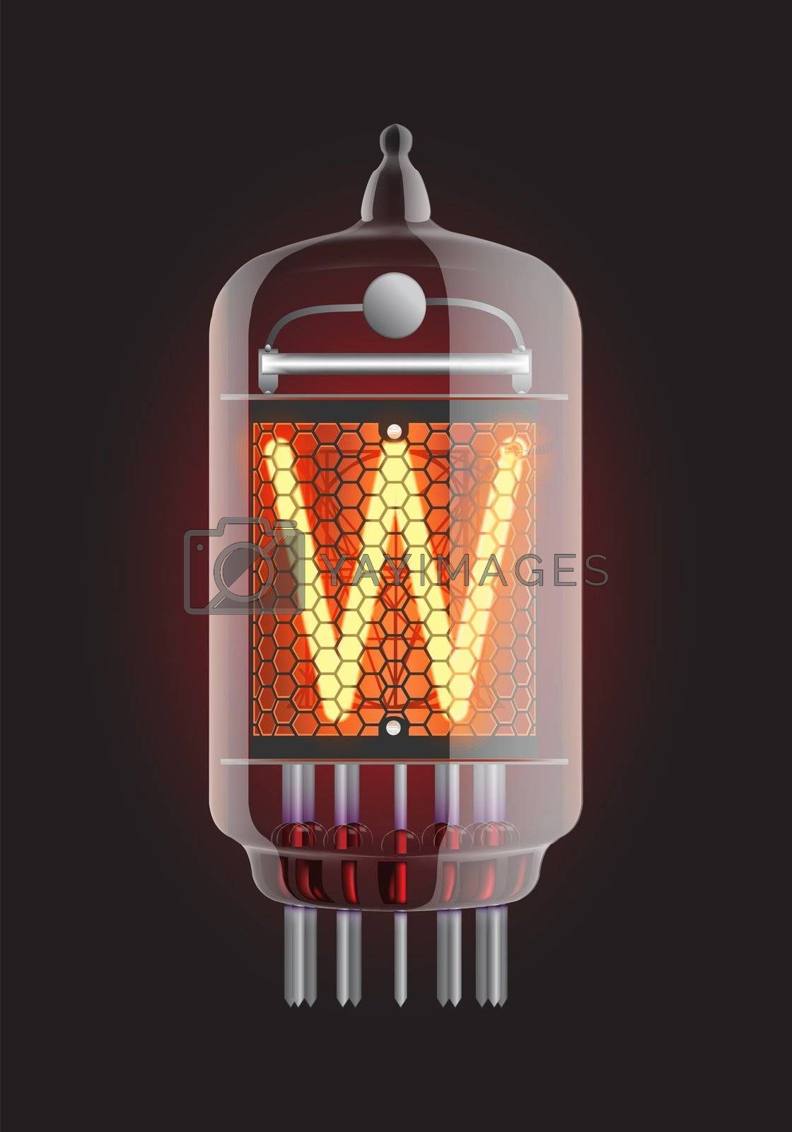 "Nixie tube indicator. Letter ""W"" from retro, Transparency guaranteed. Vector illustration."