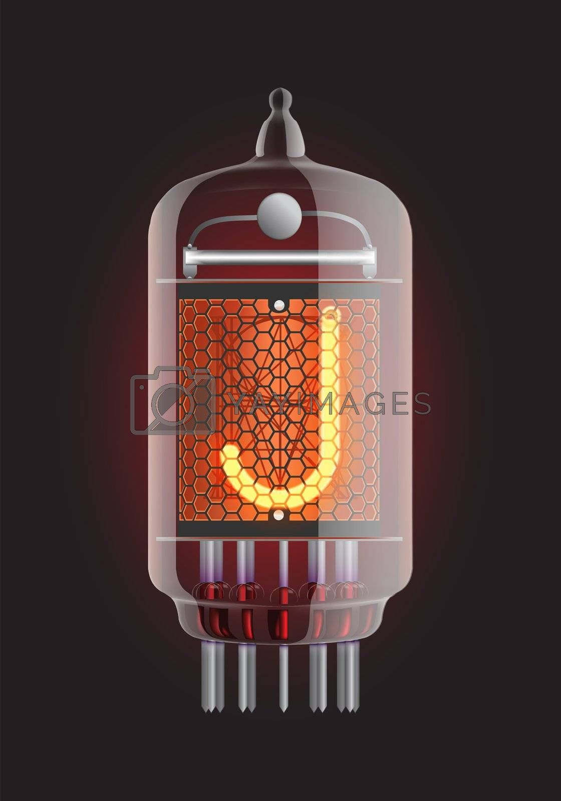 "Nixie tube indicator. Letter ""J"" from retro, Transparency guaranteed. Vector illustration."