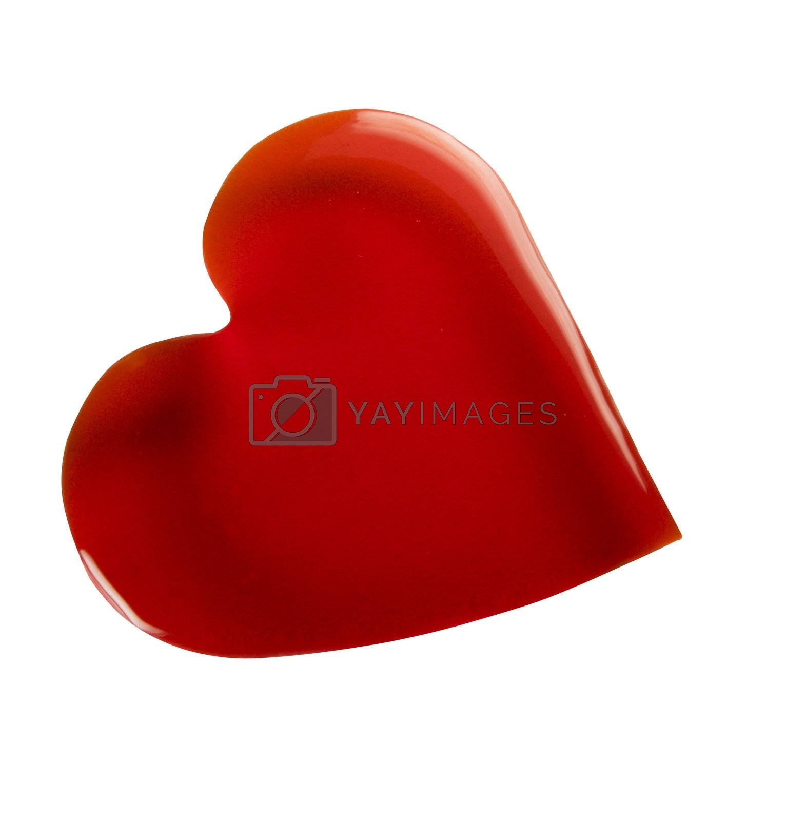 Caramel heart. Isolated on white.
