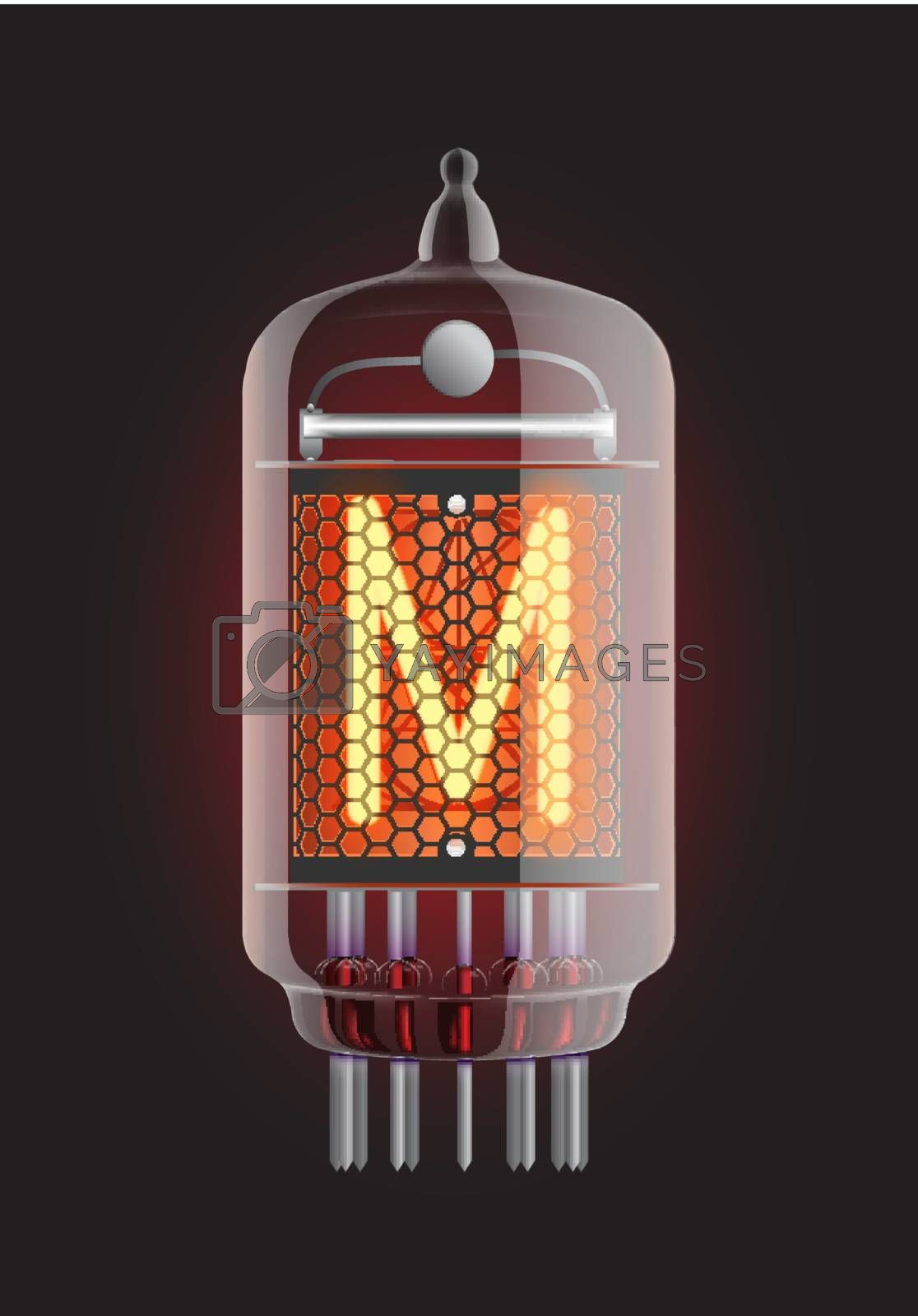 "Nixie tube indicator. Letter ""M"" from retro, Transparency guaranteed. Vector illustration."