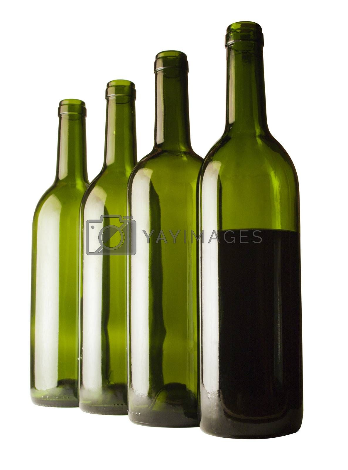four bottles isolated against white background