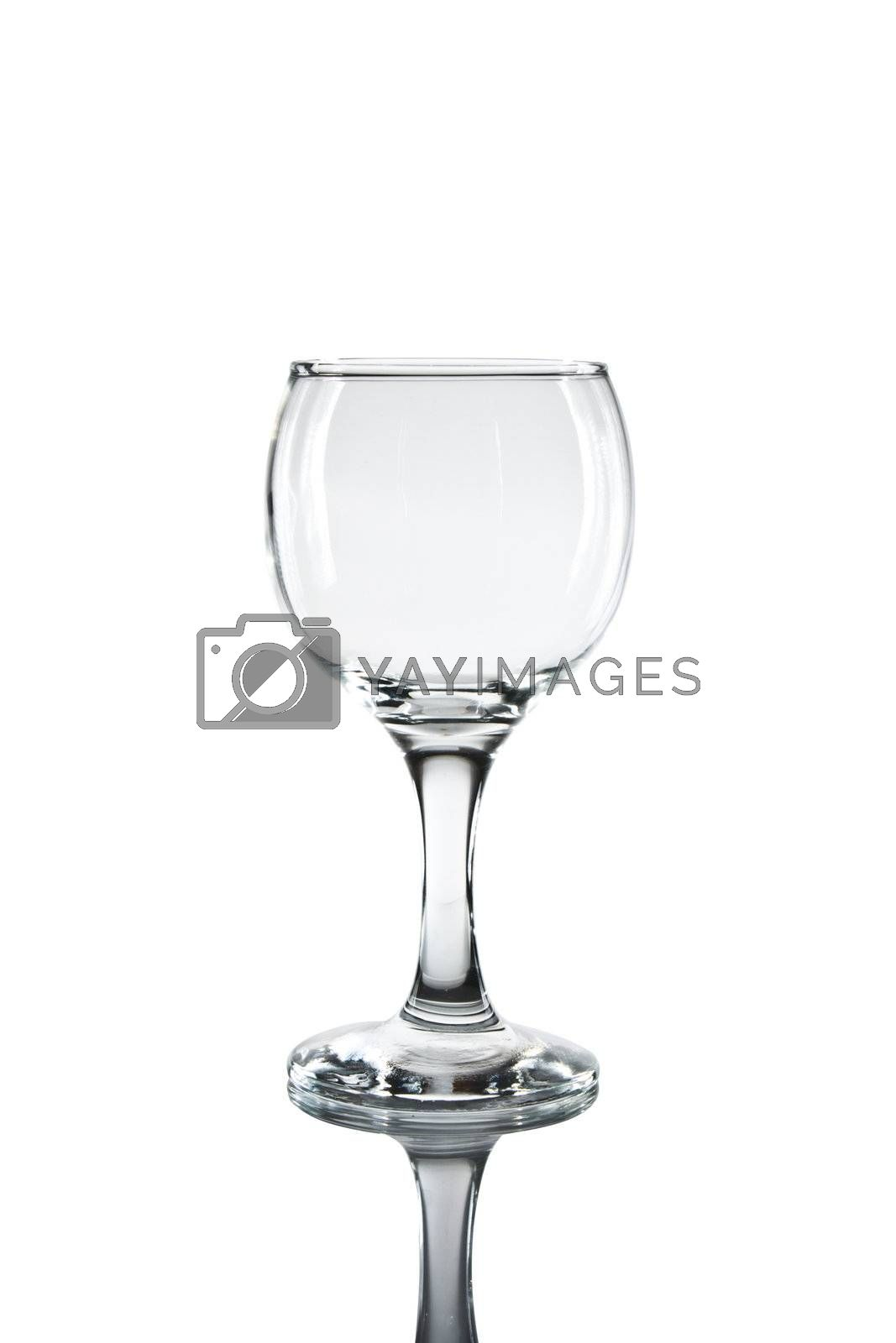 Empty white wine glass on white background.