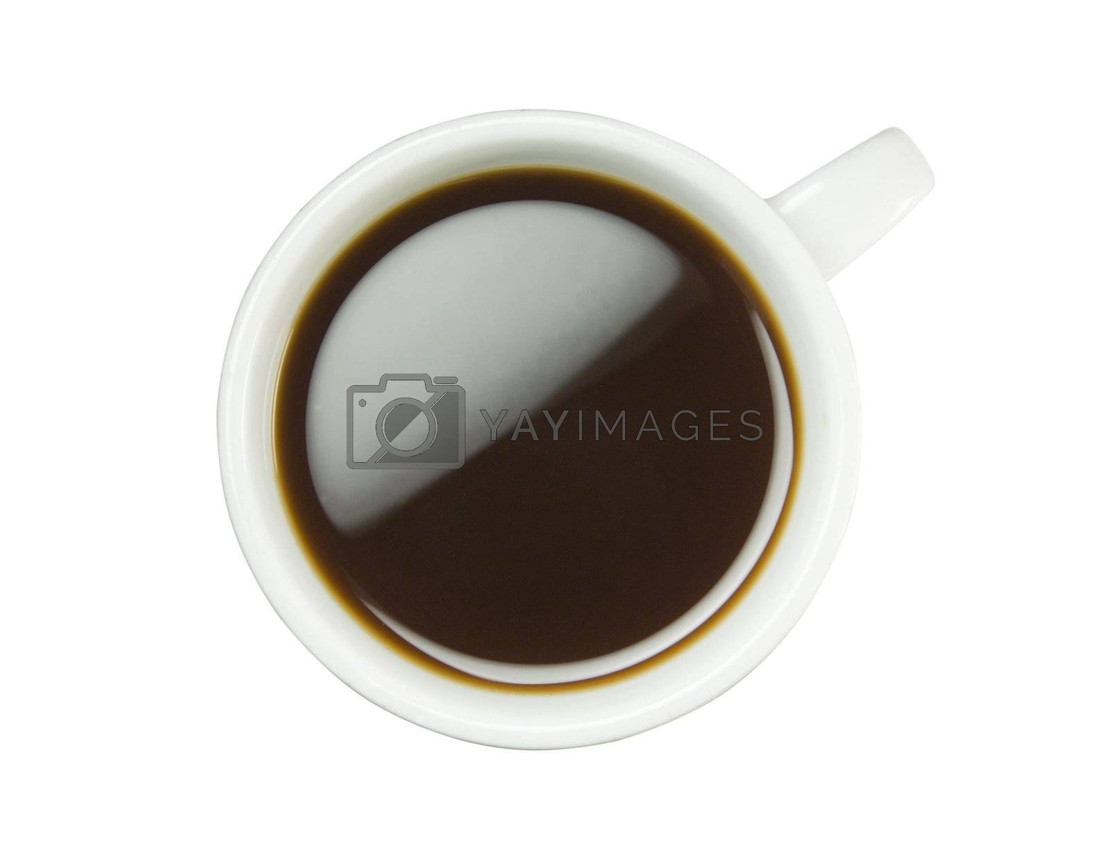 Coffee cup isolated (seen from above) with clipping path