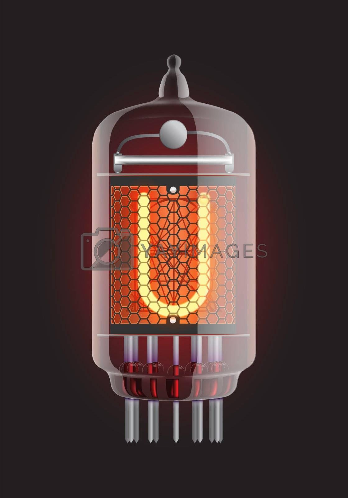 "Nixie tube indicator. Letter ""U"" from retro, Transparency guaranteed. Vector illustration."