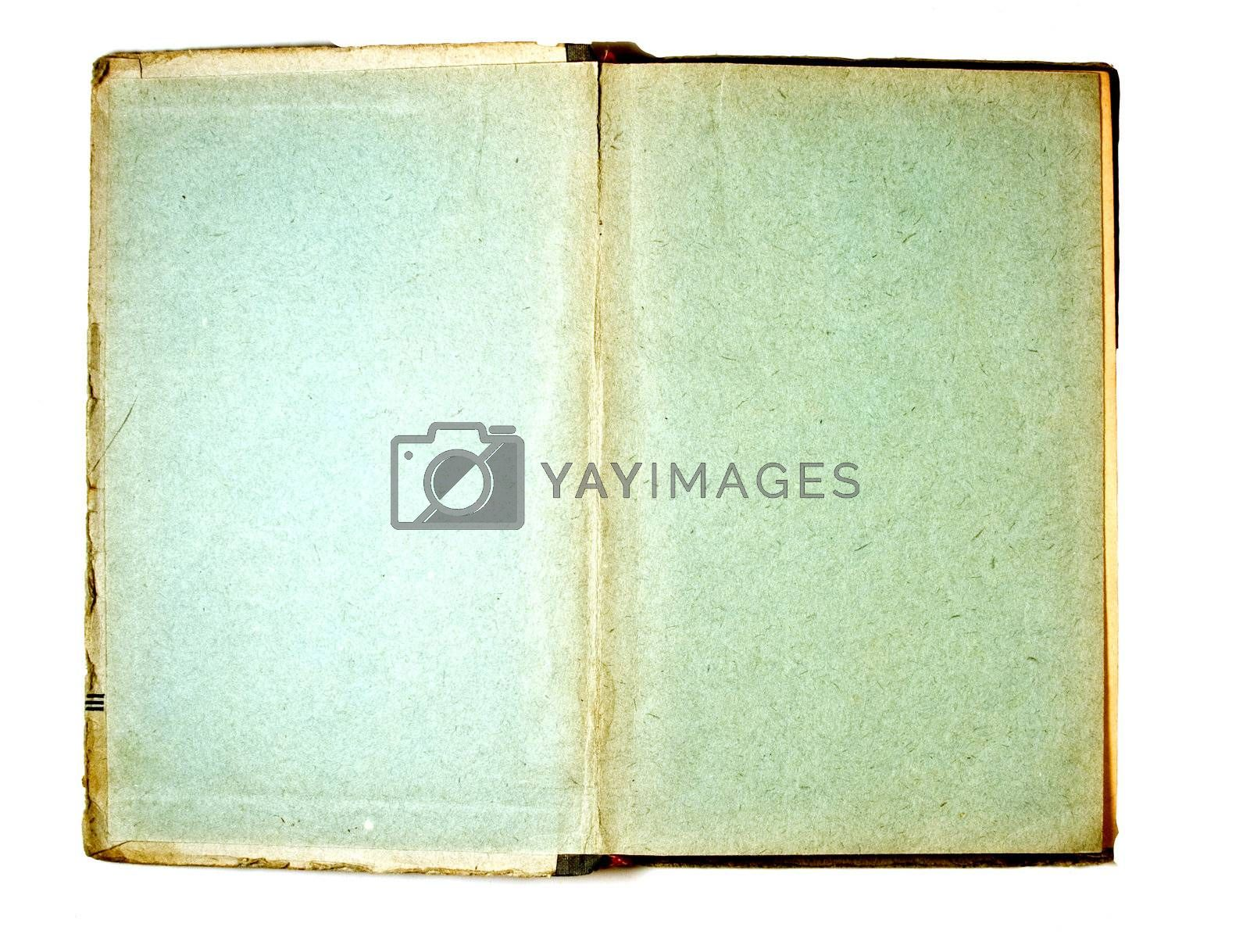 Two blank Pages in ancient Book, on a white background
