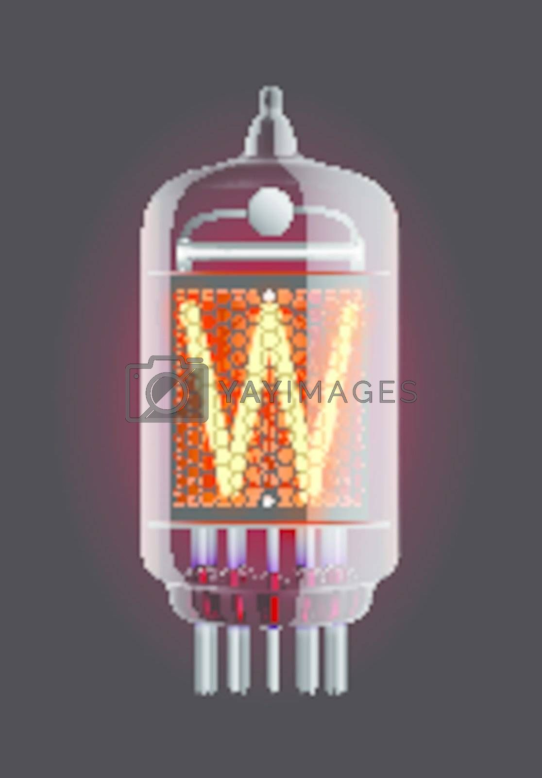"""Nixie tube indicator. Letter """"W"""" from retro, Transparency guaranteed. Vector illustration."""