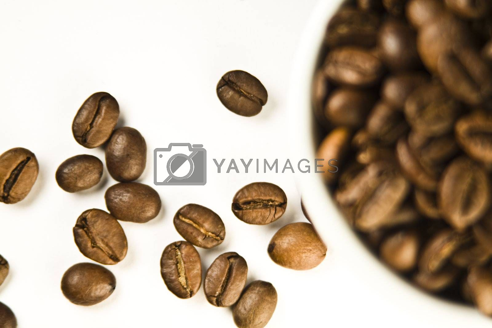 The cup of coffee and beans. Small depth of sharpness.