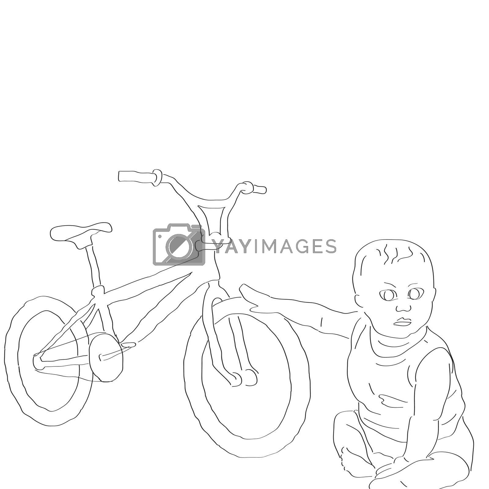 nice simple card with little boy and bicycle