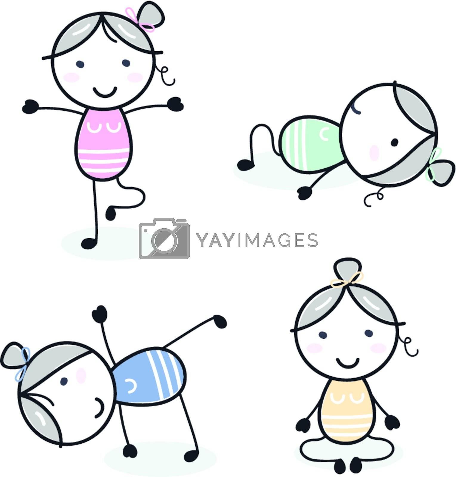 Retro women in doodle style practicing yoga. Vector