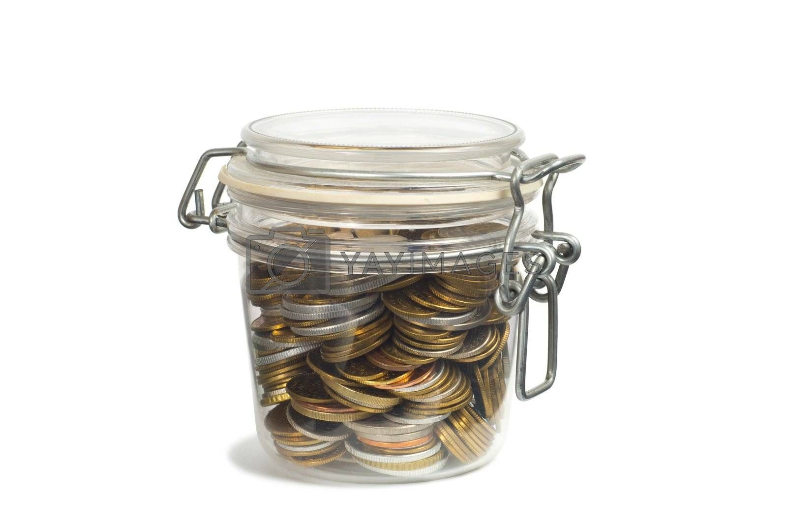 Coins in a jar isolated on white background