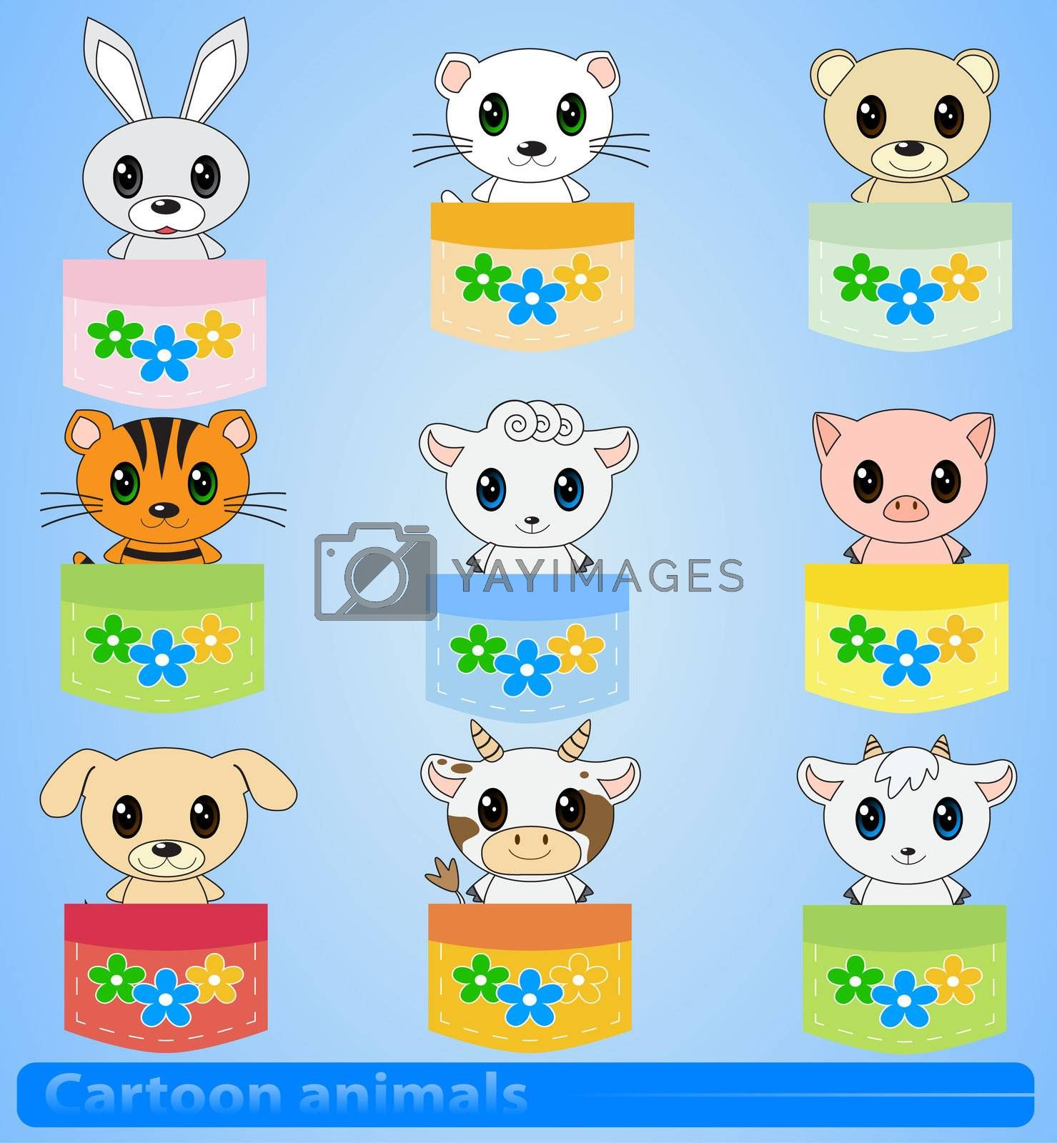 cartoon animals in pockets on a blue background