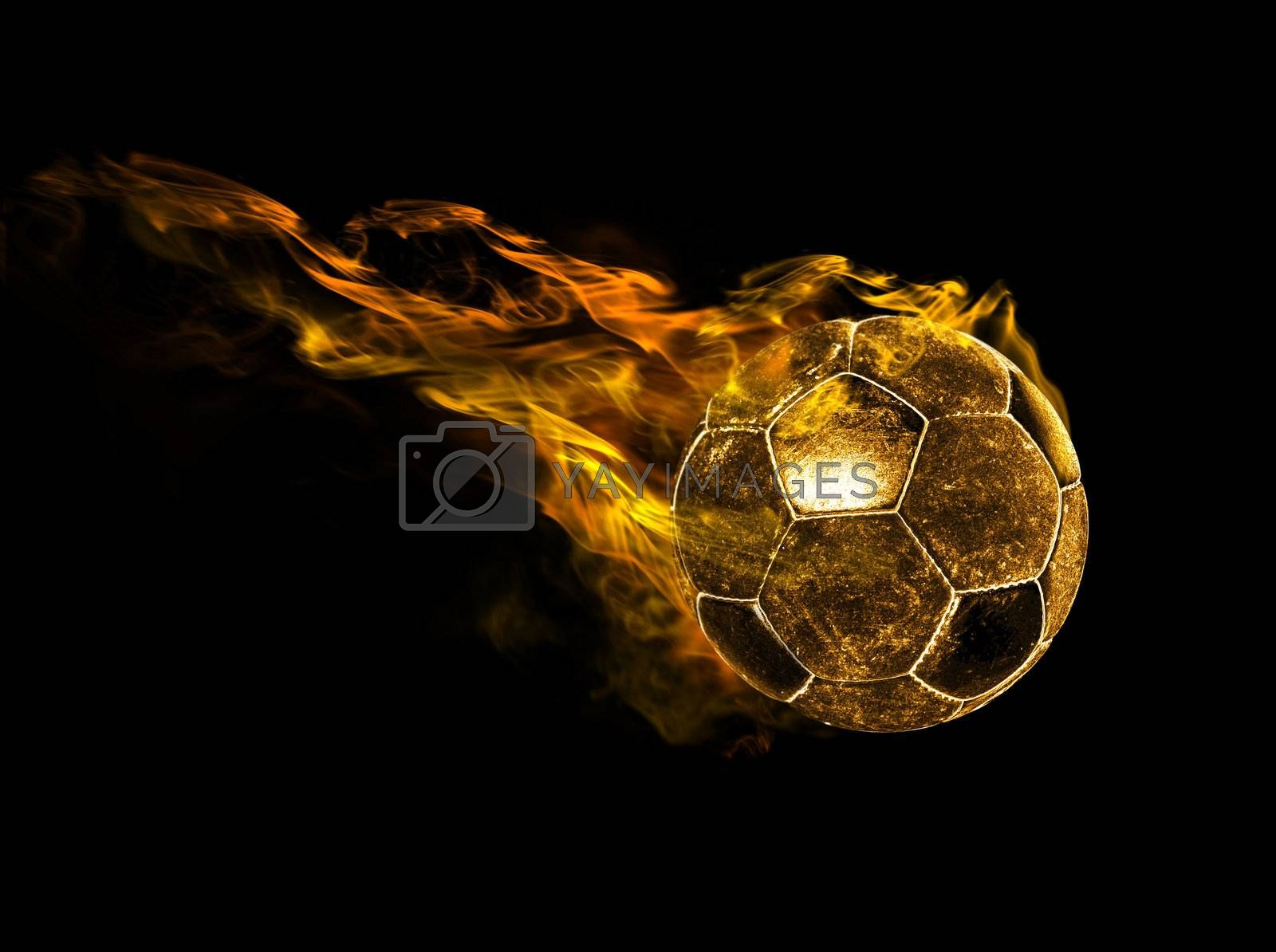flying fiery ball on black background
