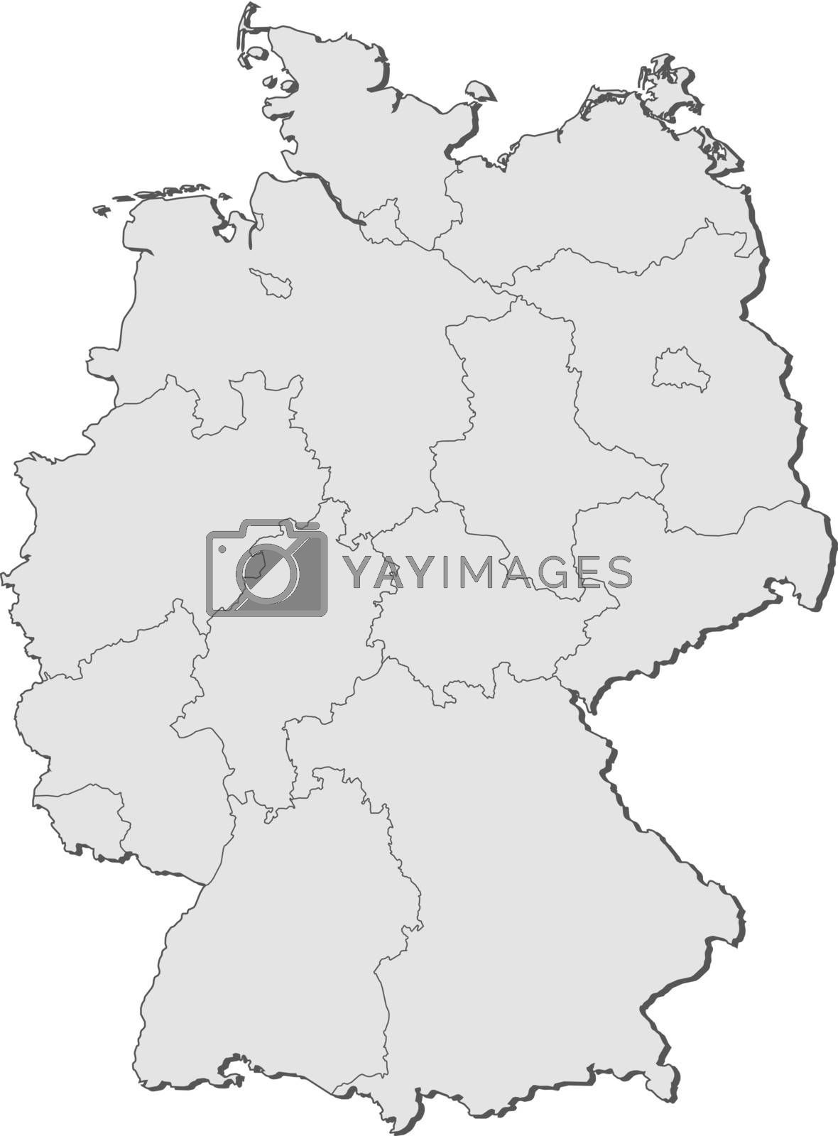 Political map of Germany with the several states.