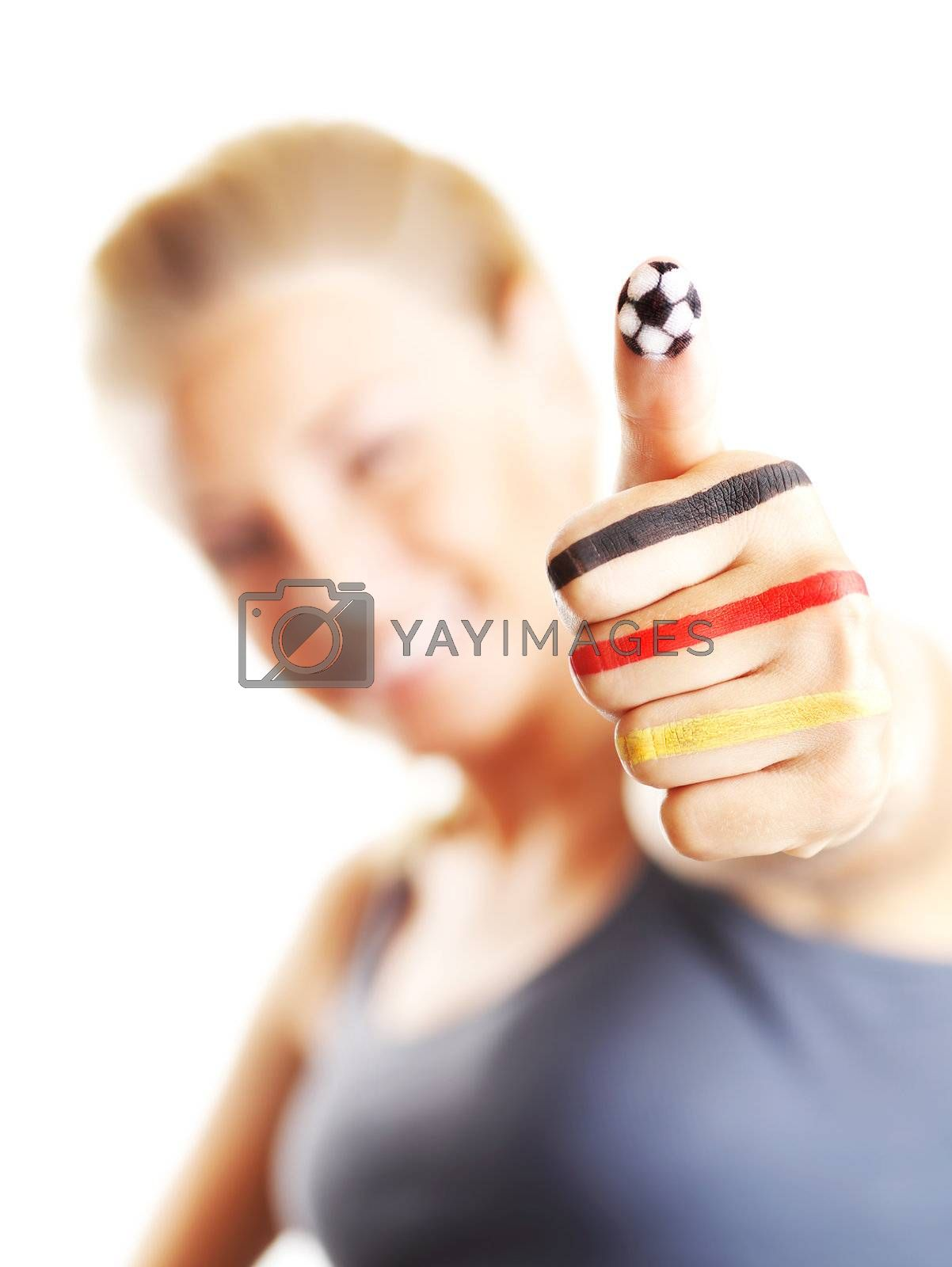 Happy football fan gesturing, shallow DOF, isolated