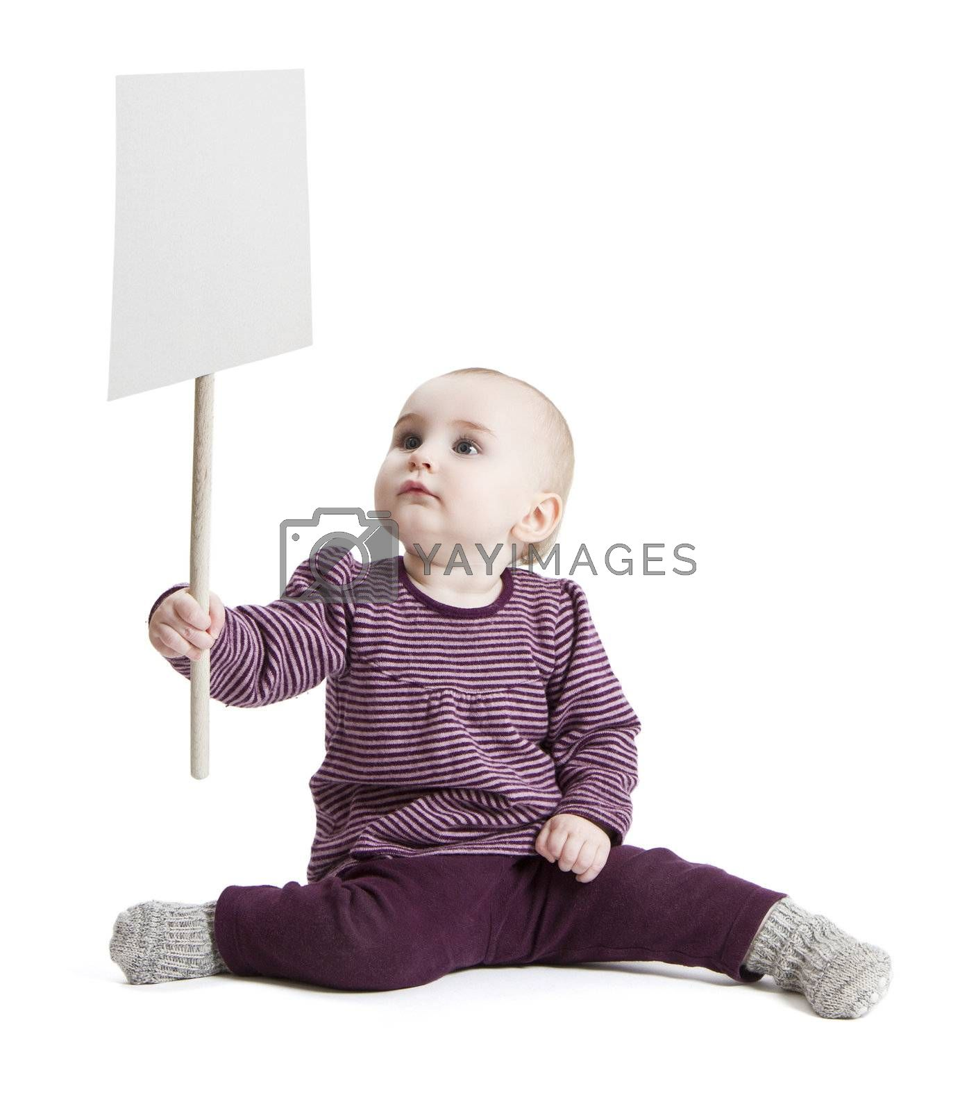 young child holding sign. isolated on white background
