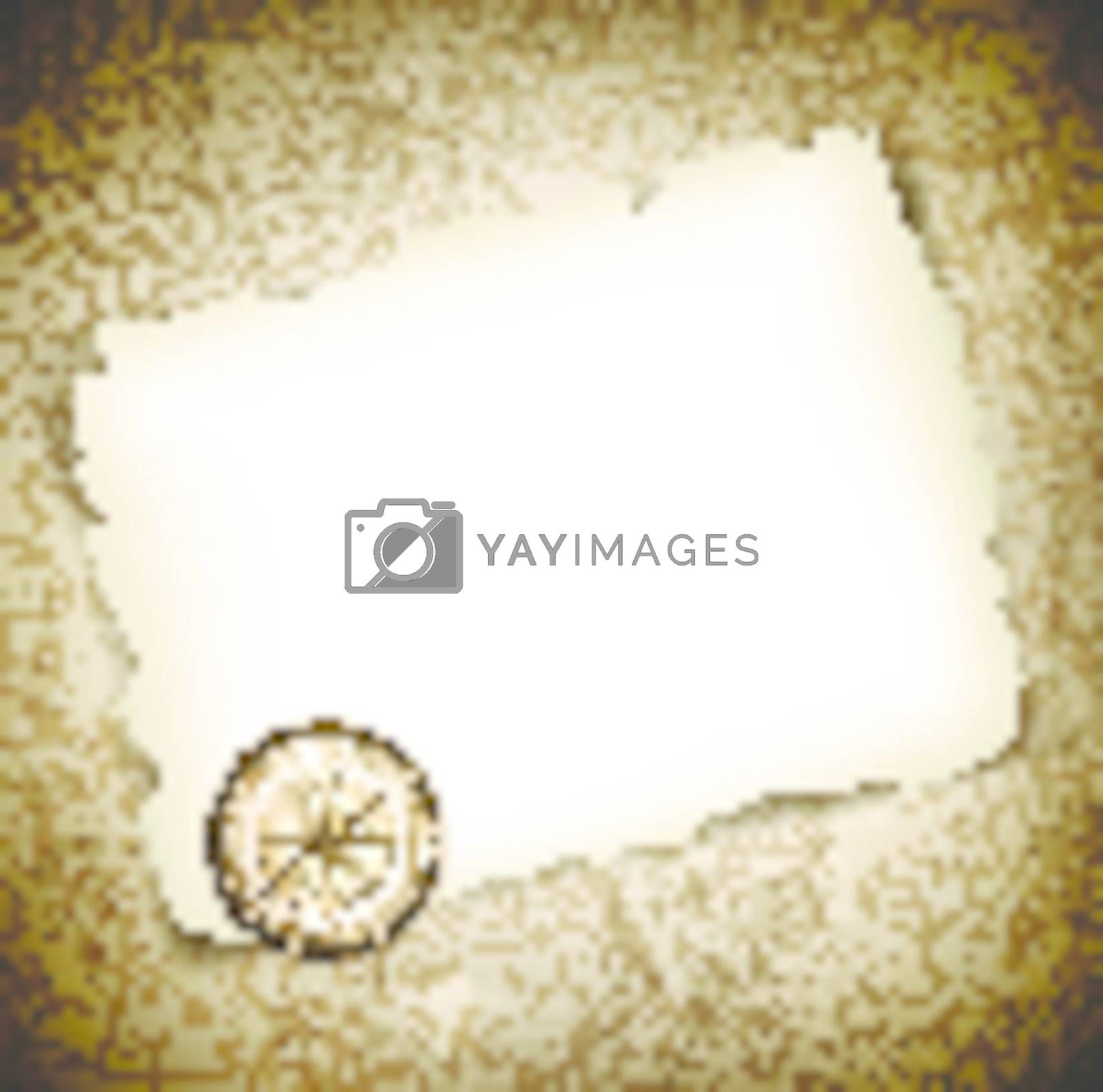 Vintage antique compass at burned paper over grunge background