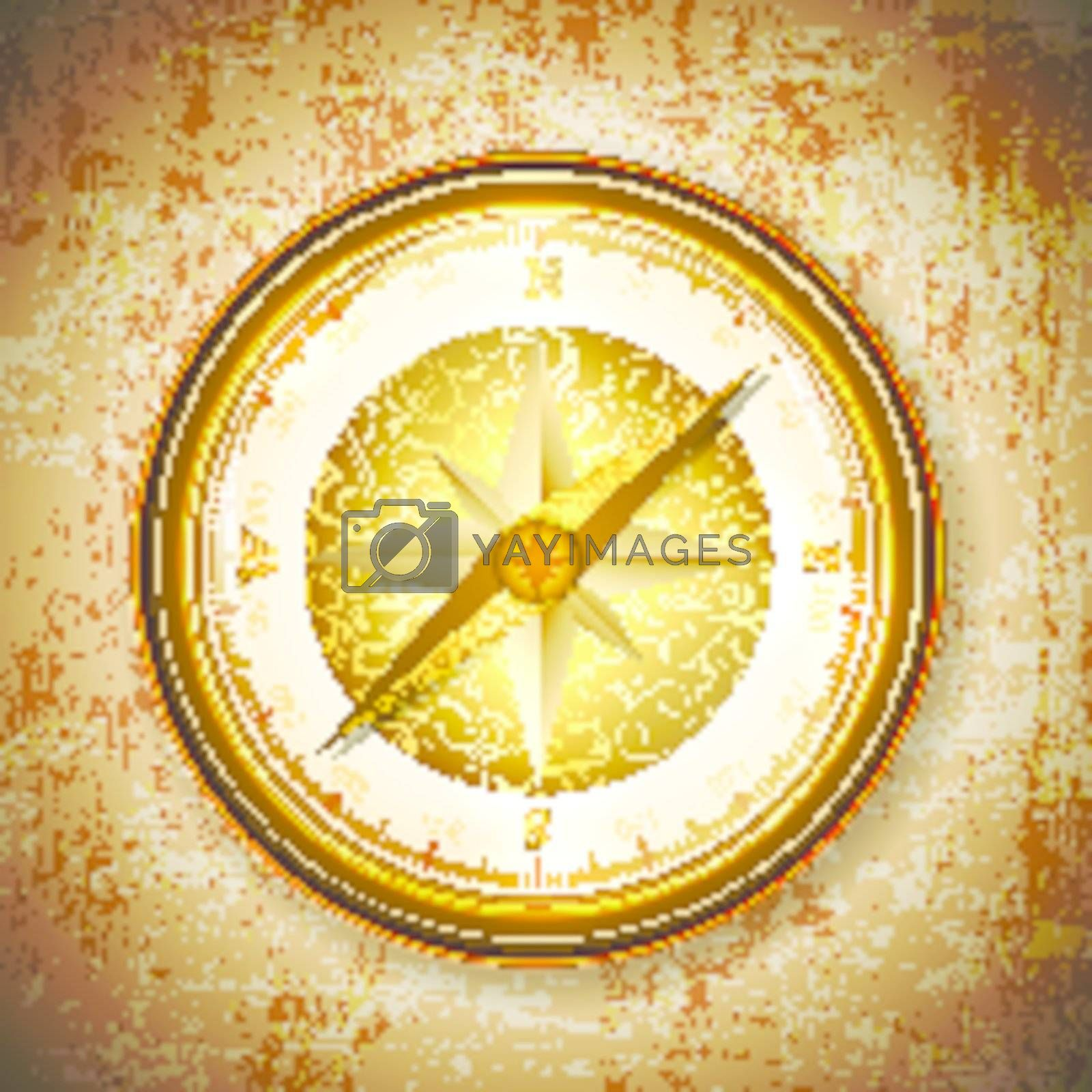 Vintage antique golden compass over grunge background